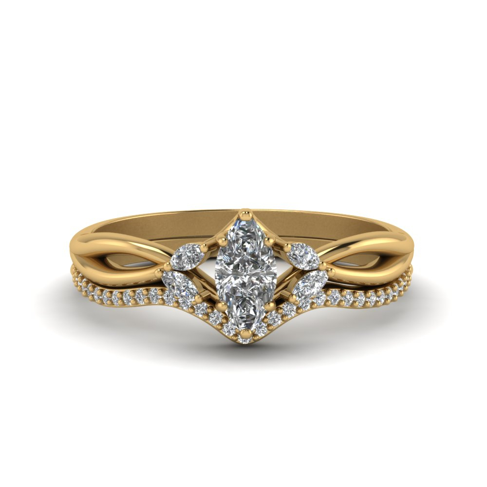 Marquise Cut Twisted Diamond Bridal Set Within Current Champagne And White Diamond Swirled Anniversary Bands In Rose Gold (Gallery 19 of 25)