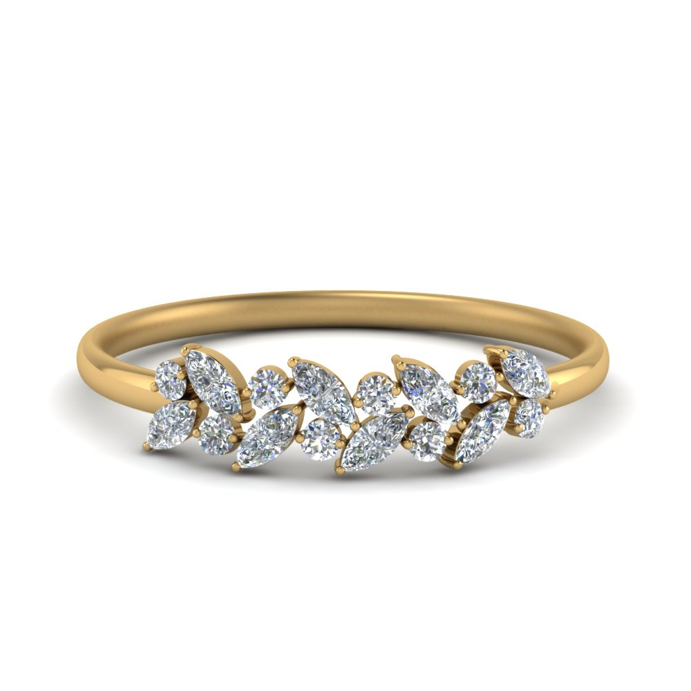 Marquise Nature Inspired Wedding Ring Within 2020 Diamond Vintage Style Anniversary Bands In Gold (Gallery 23 of 25)