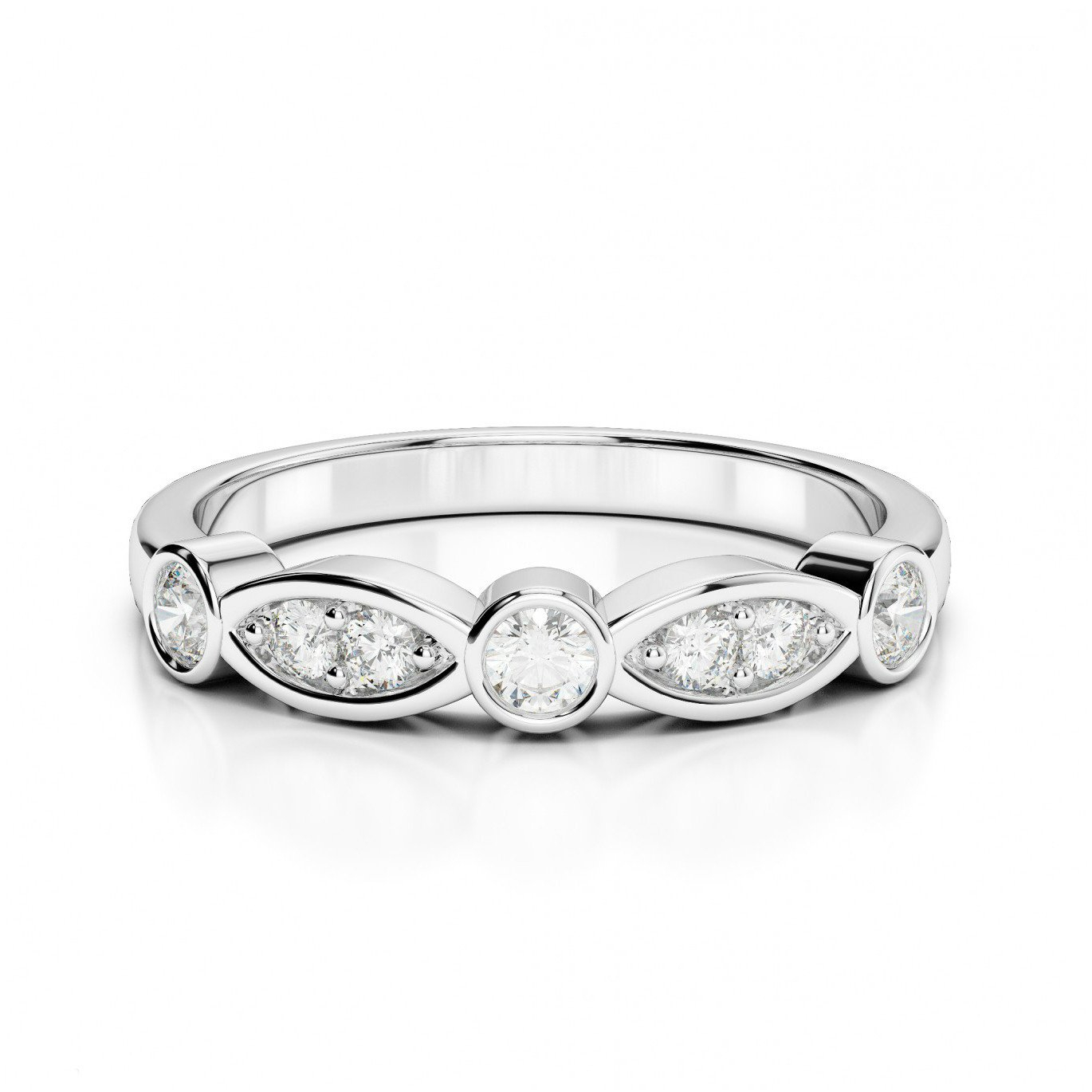 Marquise & Round Diamond Wedding Band Inside Most Popular Marquise And Round Diamond Alternating Anniversary Bands In White Gold (Gallery 21 of 25)