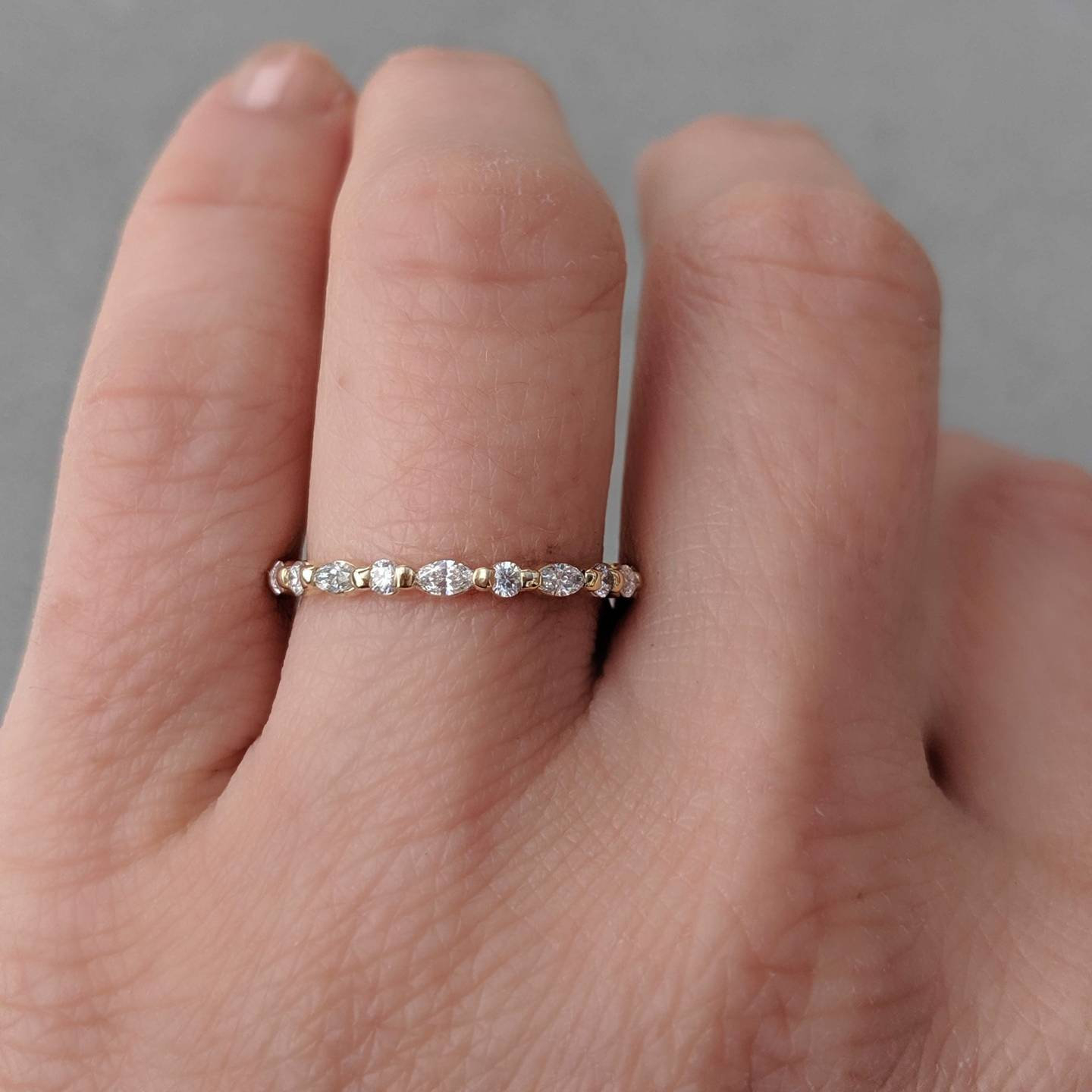 Marquise Round Diamond Wedding Ring – Anya, Alternating – 3/4 Ctw Full Eternity Band. 14K, 18K Yellow, Rose, White Gold Or Platinum For Most Recent Marquise And Round Diamond Alternating Anniversary Bands In White Gold (Gallery 25 of 25)