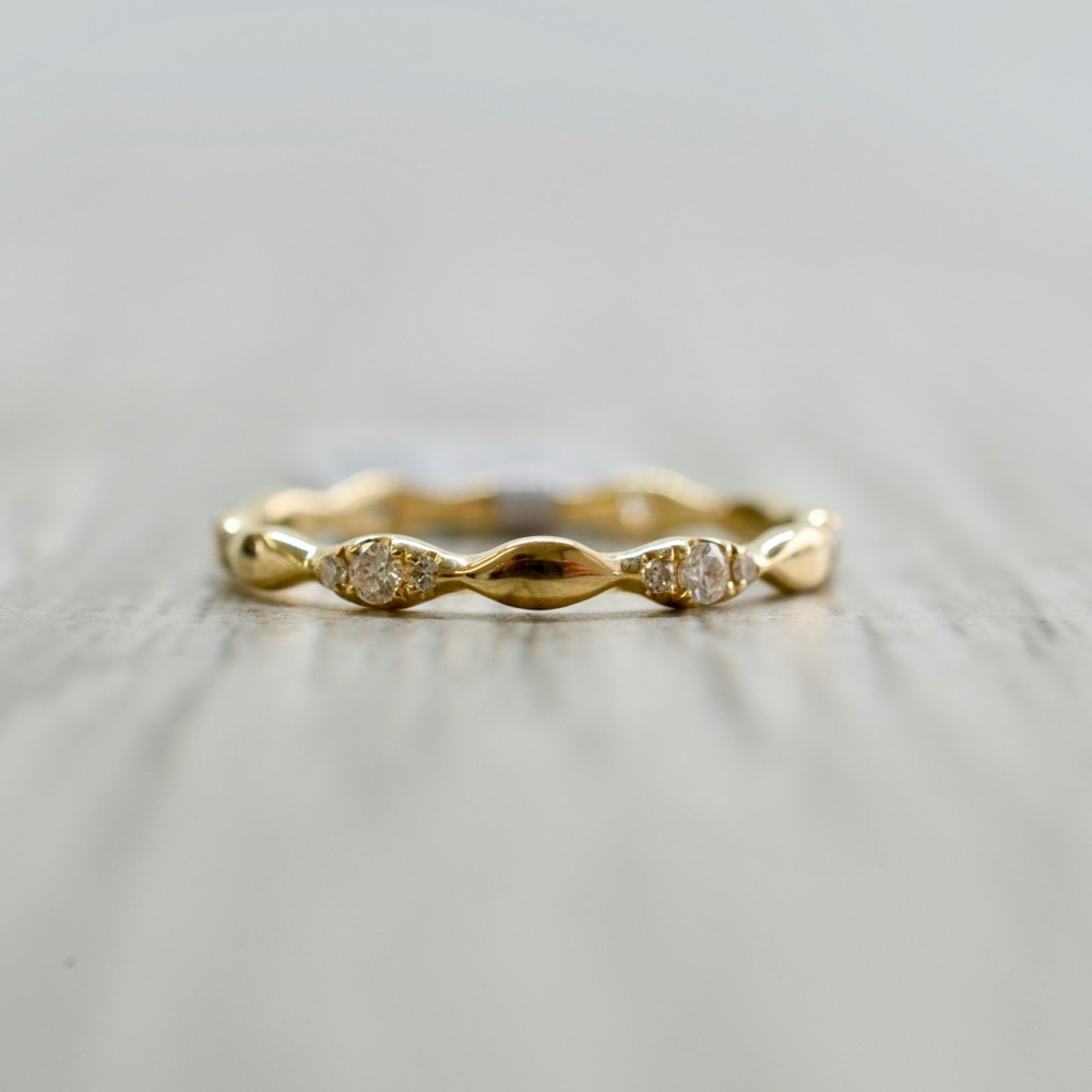 Marquise Shaped Alternating Diamond Eternity Band In Yellow In Most Recently Released Marquise And Round Diamond Alternating Anniversary Bands In Rose Gold (Gallery 2 of 25)