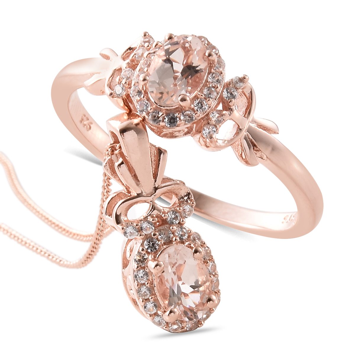Marropino Morganite, Cambodian Zircon Vermeil Rg Over Sterling Silver Bow Ring (Size 9) And Pendant With Chain (20 In) Tgw 1.20 Cts (View 25 of 25)
