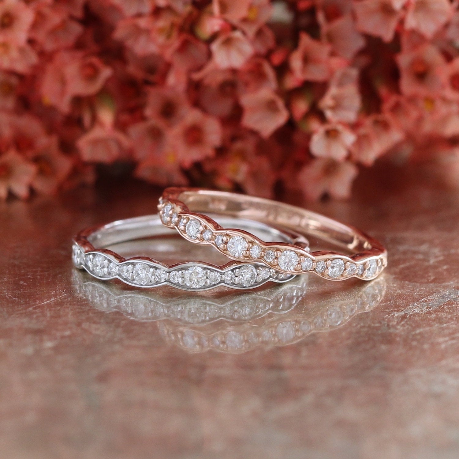 Matching Scalloped Diamond Wedding Ring Vintage Inspired Diamond  Anniversary Ring In 14K White, Yellow Or Rose Gold Half Eternity Band For Best And Newest Diamond Vintage Style Anniversary Bands In Rose Gold (View 16 of 25)