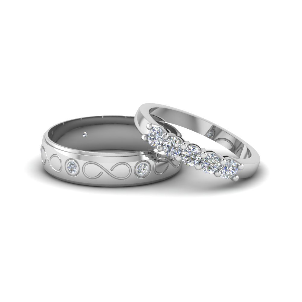 Matching Wedding Bands For Him And Her | Fascinating Diamonds Throughout Newest Diamond Vintage Style Seven Stone Anniversary Bands In White Gold (View 12 of 25)