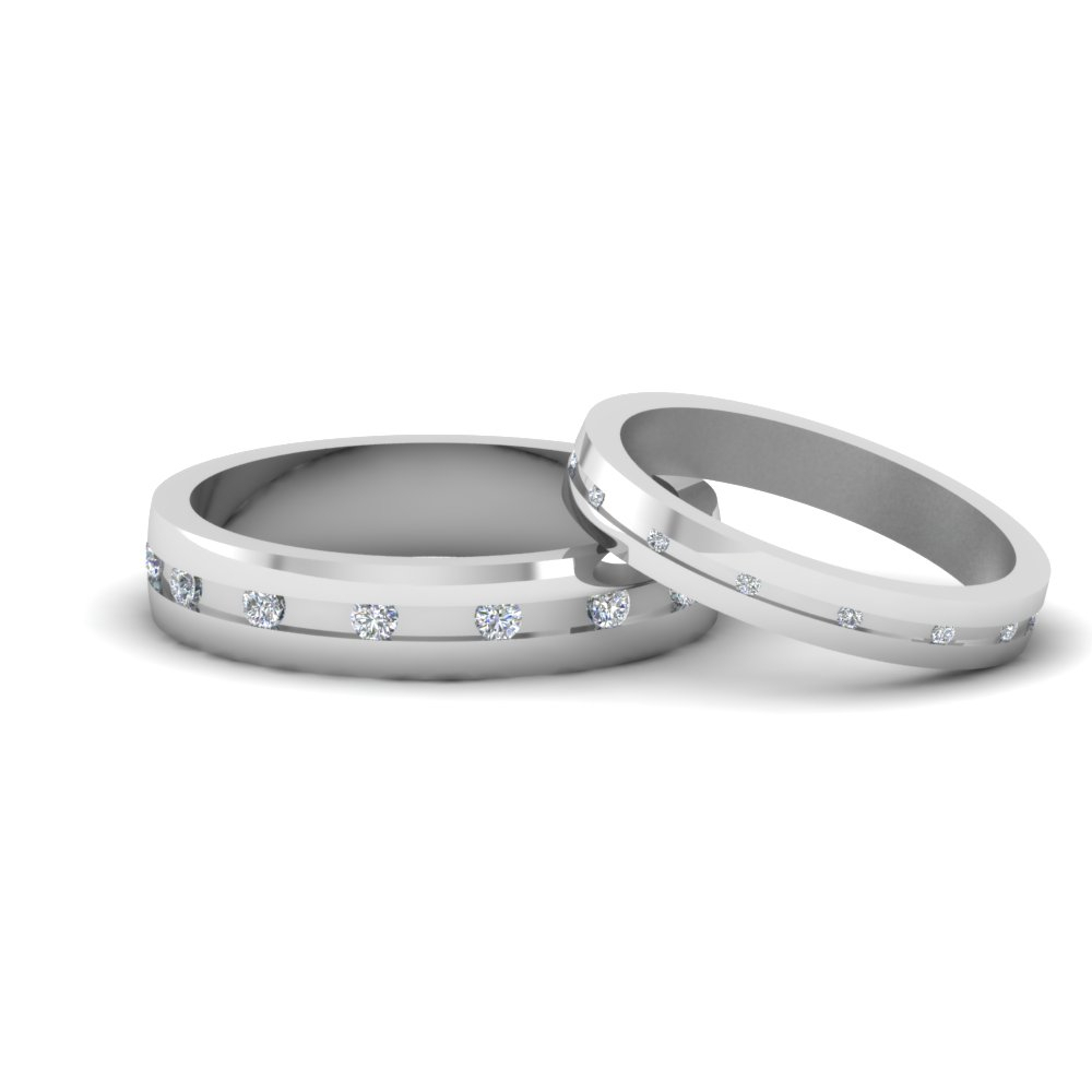 Matching Wedding Bands For Him And Her | Fascinating Diamonds With Regard To Most Recent Diamond Layered Anniversary Bands In White Gold (View 10 of 20)