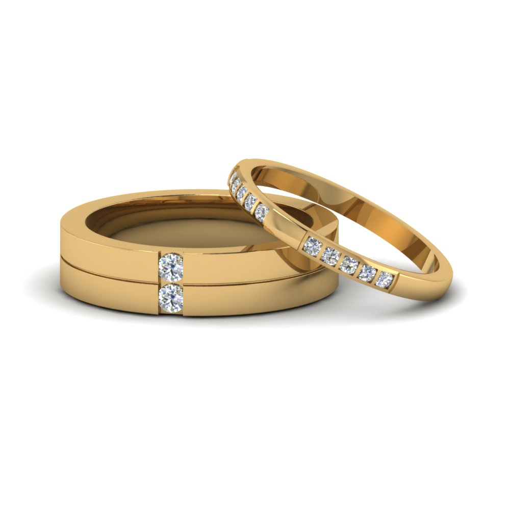 Matching Wedding Bands For Him And Her | Fascinating Diamonds Within Most Recently Released Diamond Layered Anniversary Bands In White Gold (View 11 of 20)