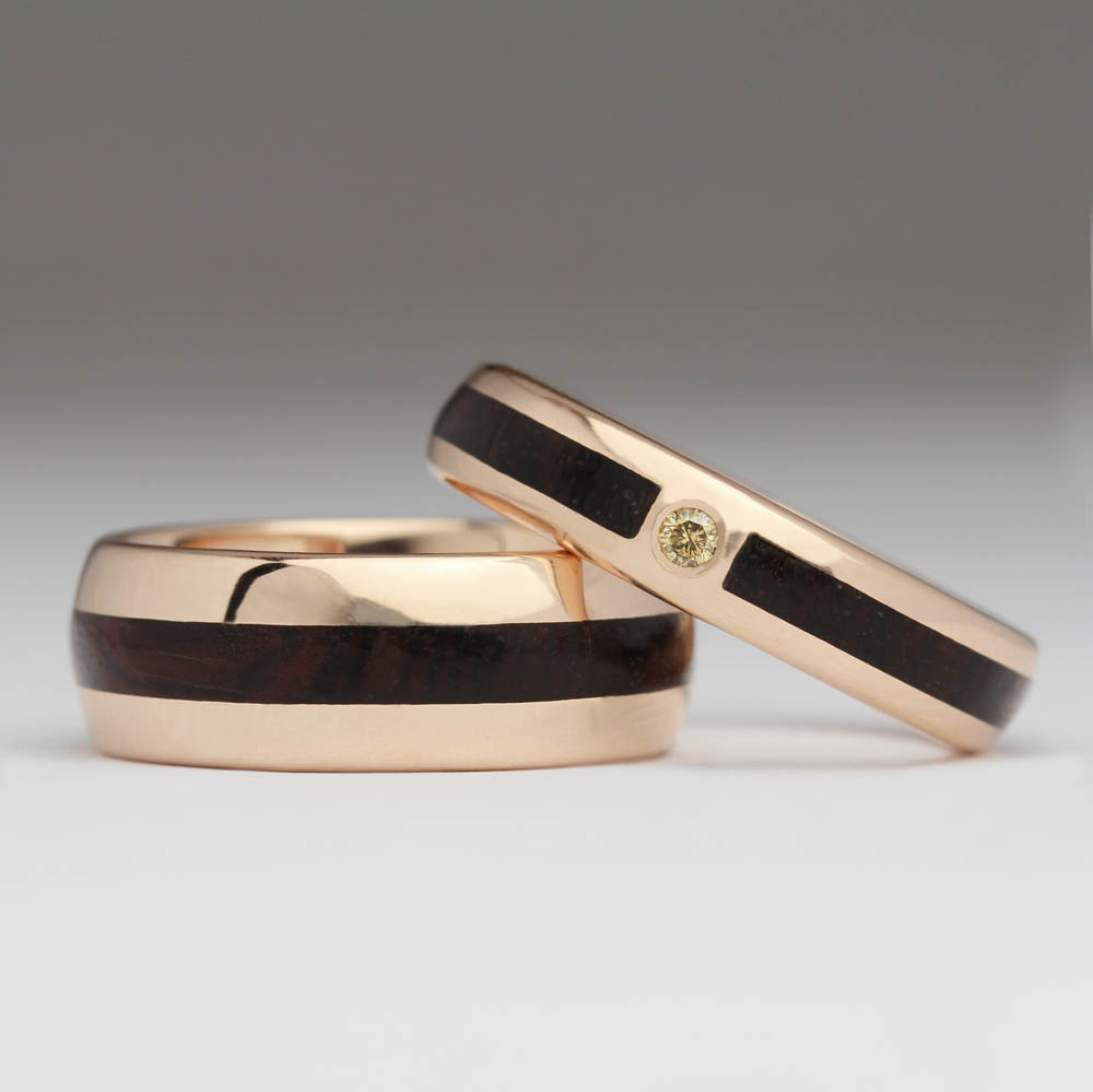Matching Wedding Rings – 9Ct Rose Gold, Kingwood And With Most Up To Date Champagne Diamond Anniversary Bands In Rose Gold (Gallery 22 of 25)