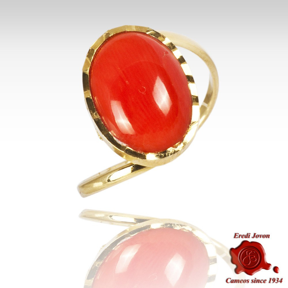 Mediterranean Coral Multifaceted Gold Set Ring Pertaining To Most Recently Released Multifaceted Rings (View 13 of 25)