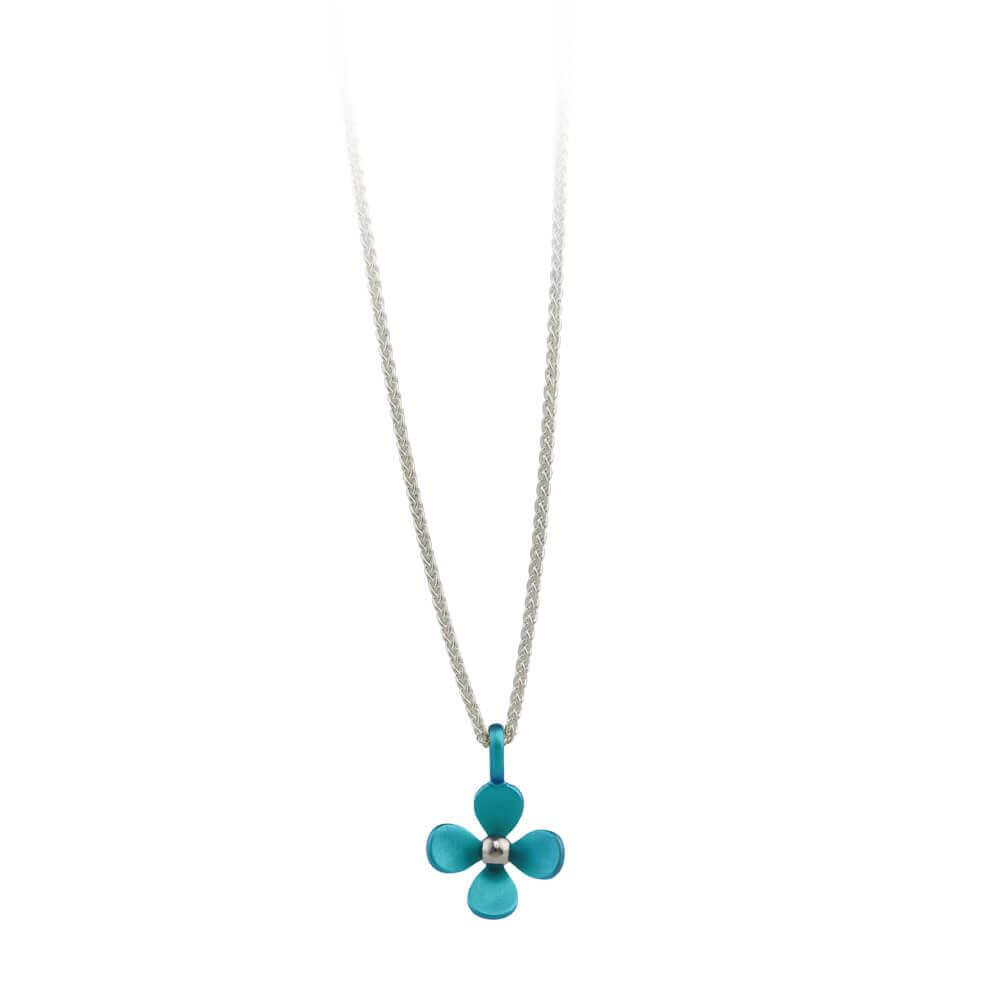 Medium Four Petal Flower Titanium Pendant Necklace Pertaining To Most Popular Four Petal Flower Necklaces (Gallery 5 of 25)