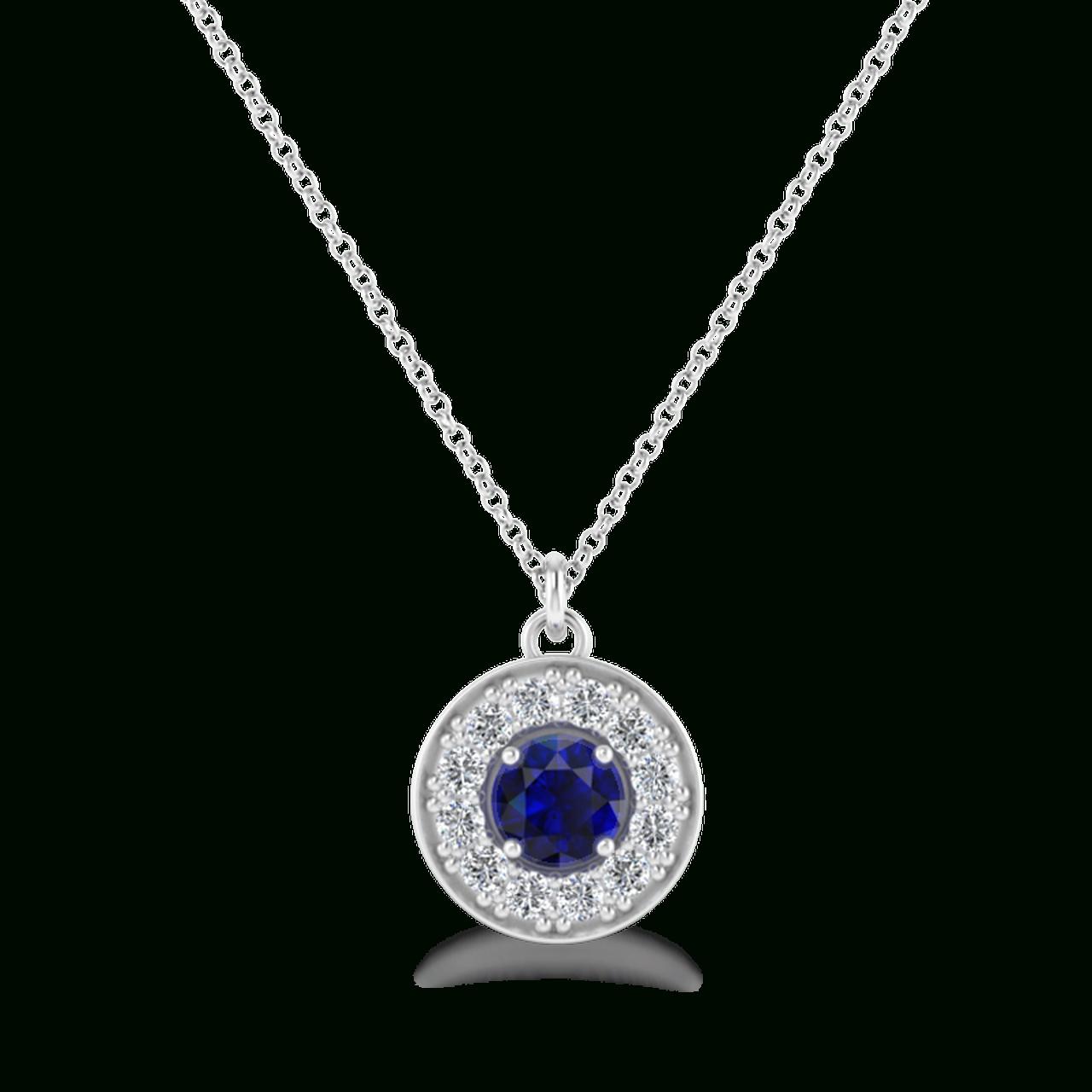 Megan Diamond & Sapphire Halo Necklace Regarding 2019 Square Sparkle Halo Pendant Necklaces (Gallery 19 of 25)