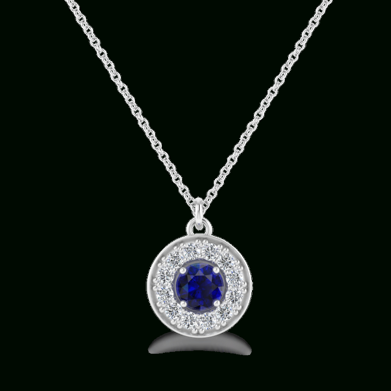 Megan Diamond & Sapphire Halo Necklace Regarding Most Recently Released Square Sparkle Halo Pendant Necklaces (View 19 of 25)