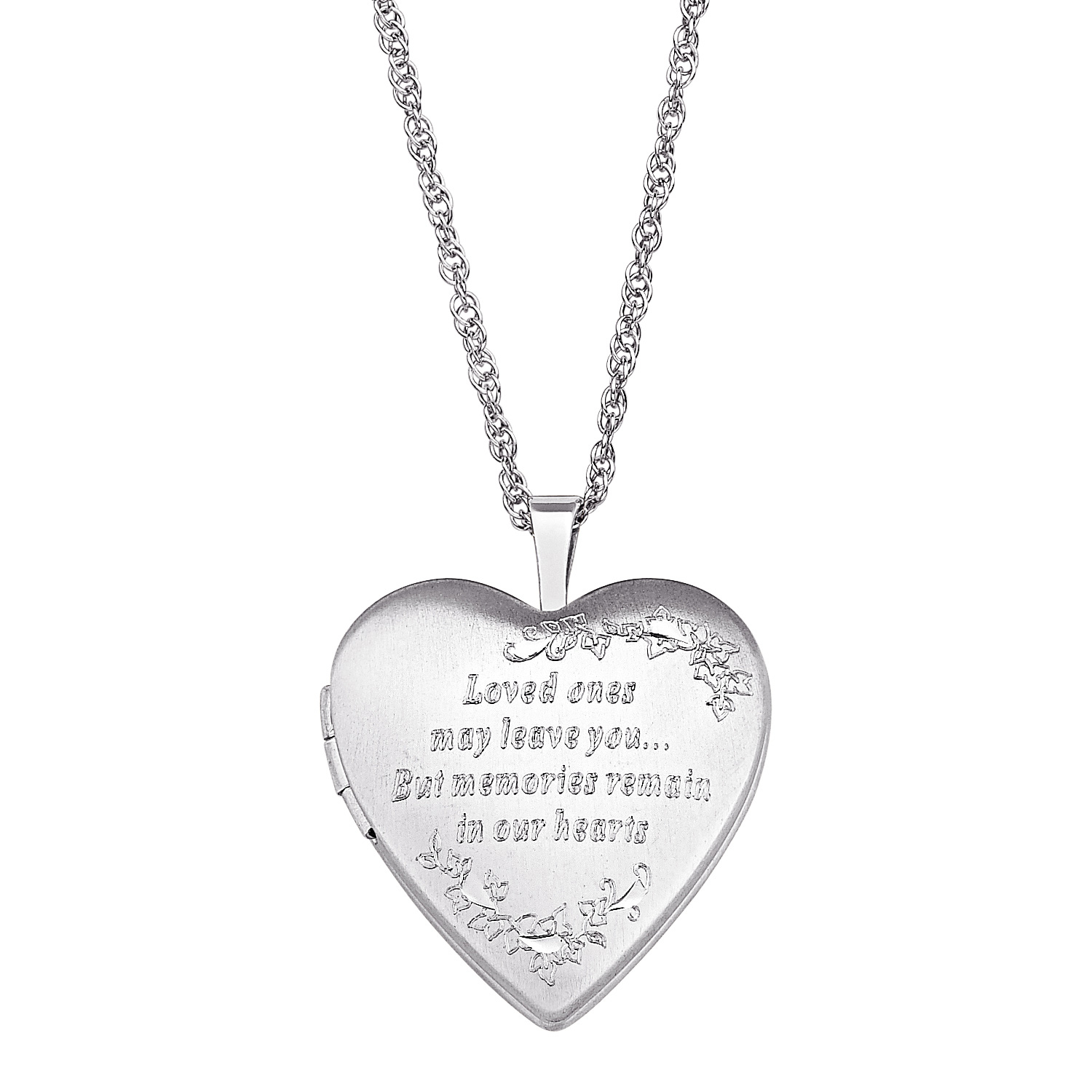Memorial Heart Shaped Locket In Sterling Silver (2 Lines)|zales For Newest Joined Hearts Necklaces (Gallery 20 of 25)