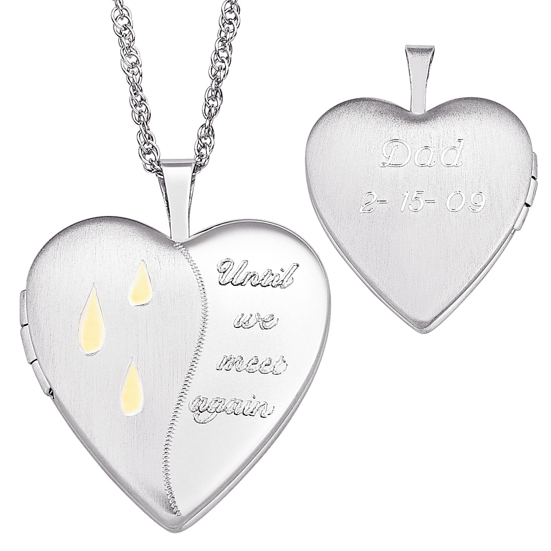 Memorial Message Heart Shaped Locket In Sterling Silver And 18K Gold Plate  (2 Lines)|Zales Intended For Most Current Heart Locket Plate Necklaces (Gallery 16 of 25)