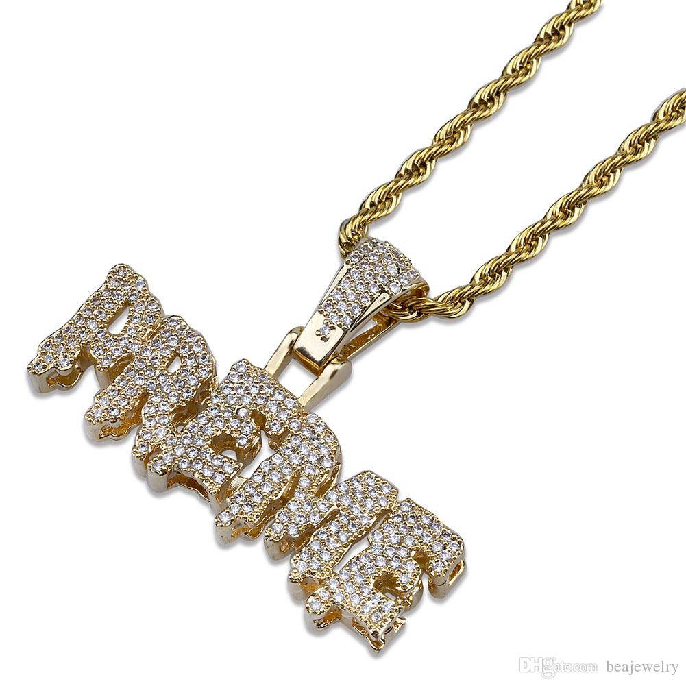 Men Iced Out Preme Letters Pendant Necklace Gold Silver Micro Pave Cubic  Zircon Hip Hop Jewelry Intended For Recent Letter K Alphabet Locket Element Necklaces (Gallery 22 of 25)