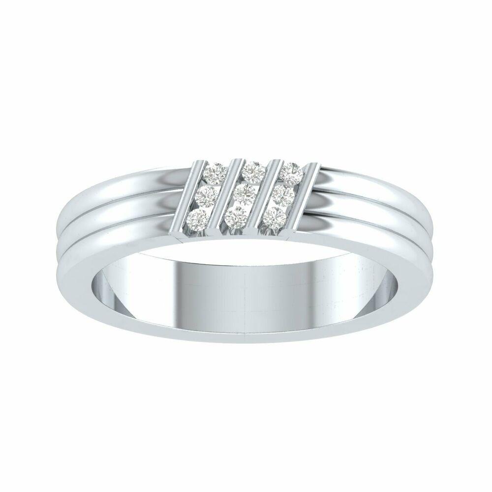 Men's 1/2 Ct D/vvs1 Diamond Three Stone Slant Anniversary Band Ring 14K Wg Over | Ebay Inside Most Up To Date Diamond Slant Anniversary Bands In White Gold (Gallery 13 of 25)