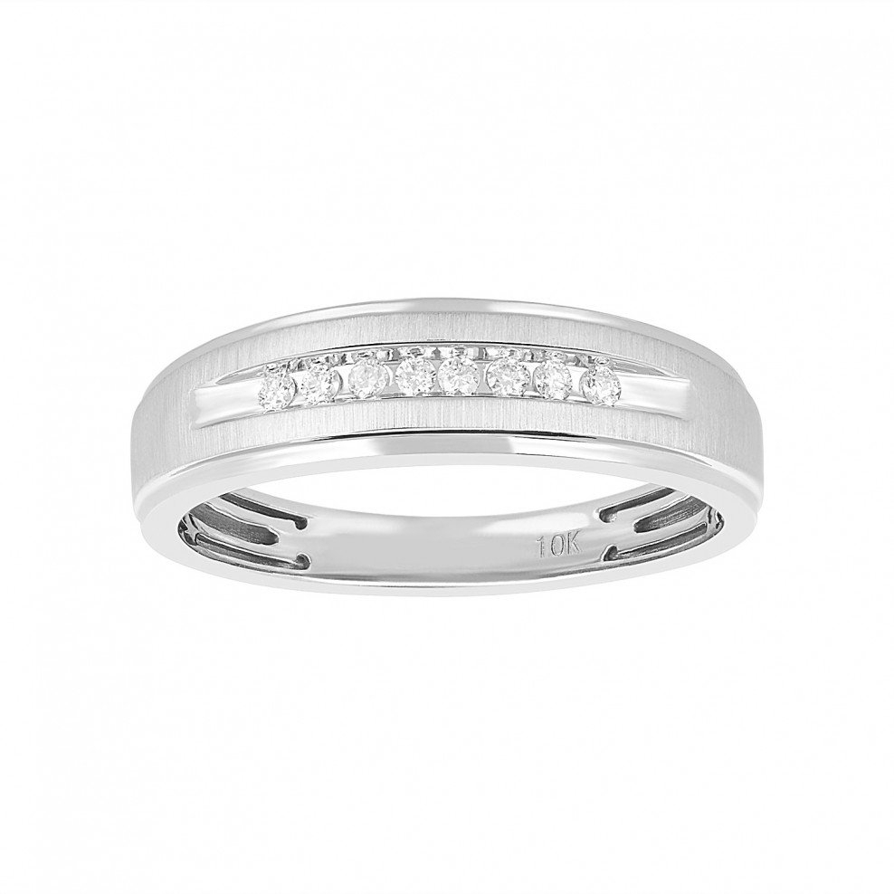 Men's .10 Ct. T.w 10K White Gold Wedding Band For Latest Diamond Channel Set Anniversary Bands In White Gold (Gallery 24 of 24)