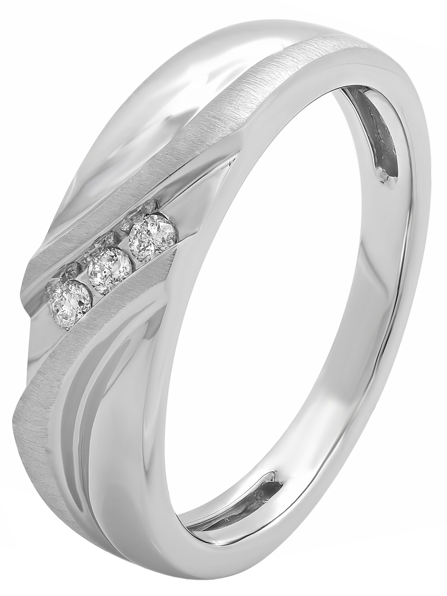 Men's 10k White Gold Slant Ring W/ Diamond Accents – Mens With 2020 Diamond Slant Anniversary Bands In White Gold (View 10 of 25)