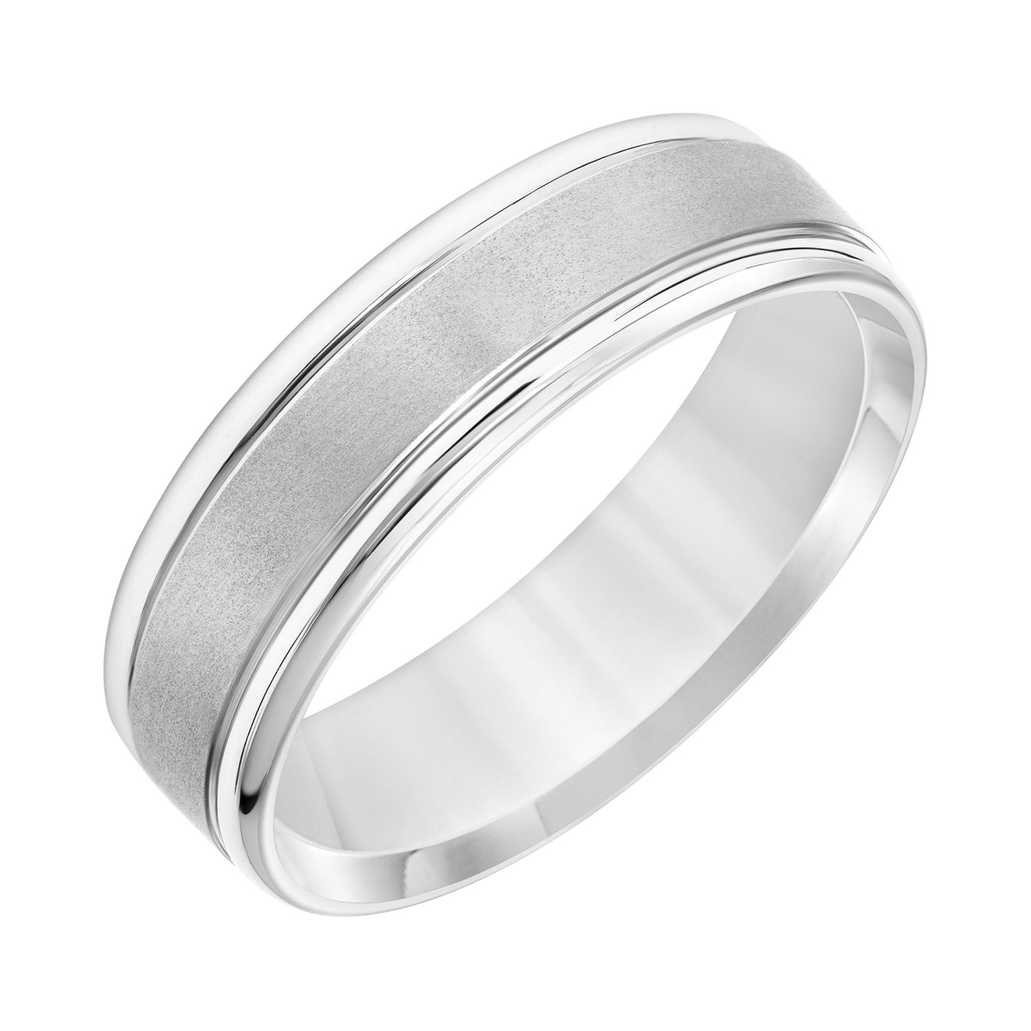 Men's 14K White Gold Brushed Stripe Wedding Band In 2019 | Womens With Regard To Best And Newest White Stripes Wedding Rings (Gallery 4 of 15)