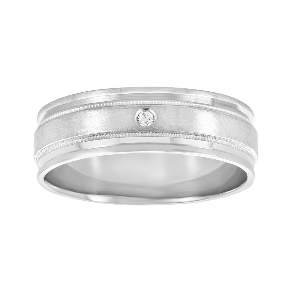 Men's 14k White Gold Satin Finish Wedding Band With Diamond Accent Pertaining To Newest Diamond Accent Anniversary Bands In Gold (View 18 of 25)