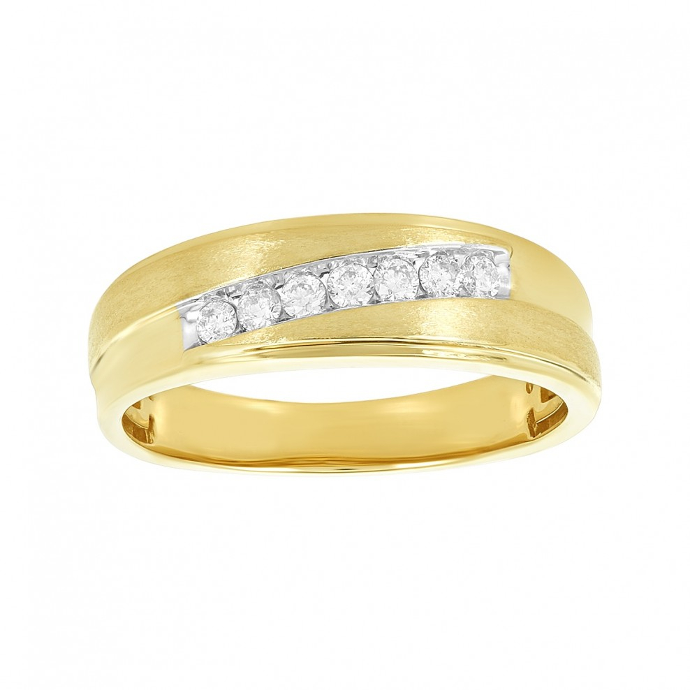 Men's 14K Yellow Gold Slanted Diamond Channel Wedding Ring Throughout Recent Diamond Slant Anniversary Bands In Gold (Gallery 1 of 25)