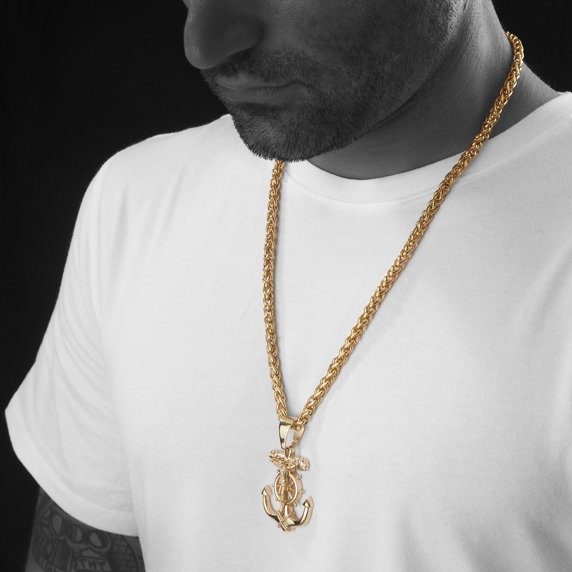 """Mens 24"""" Gold Stainless Steel 6mm Wheat Chain Necklace Anchor Jesus Intended For Best And Newest Wheat Pendant Necklaces (View 10 of 25)"""
