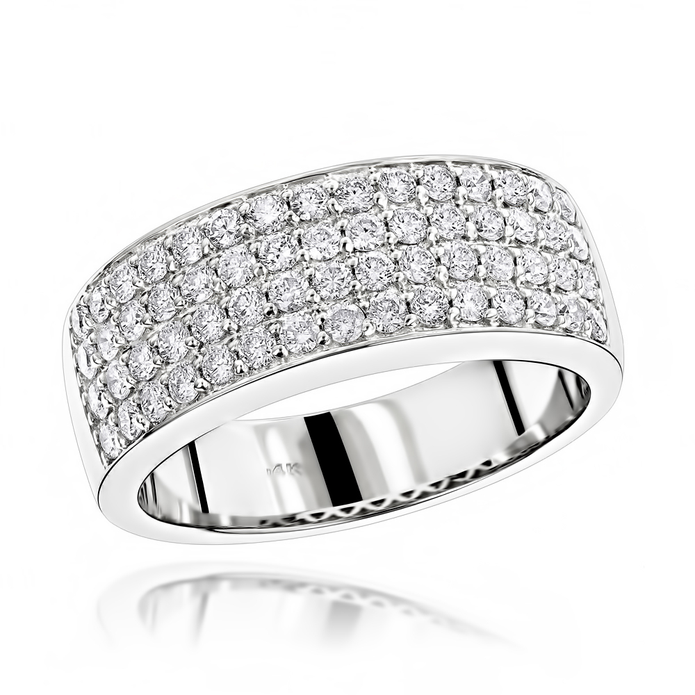 Mens 4 Row Diamond Wedding Band 1.39Ct 14K Gold Regarding Most Current Diamond Four Row Anniversary Bands In White Gold (Gallery 2 of 25)