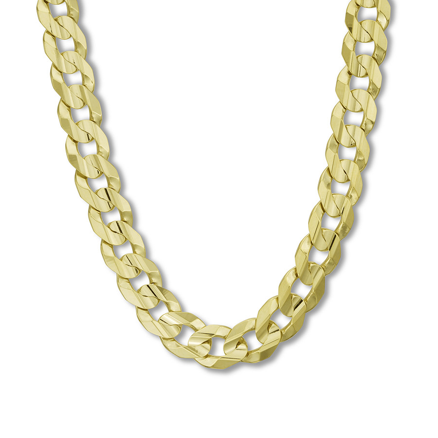 "Men's Cuban Curb Chain Necklace 14K Yellow Gold 22"" Length Throughout Most Recent Curb Chain Necklaces (Gallery 6 of 25)"