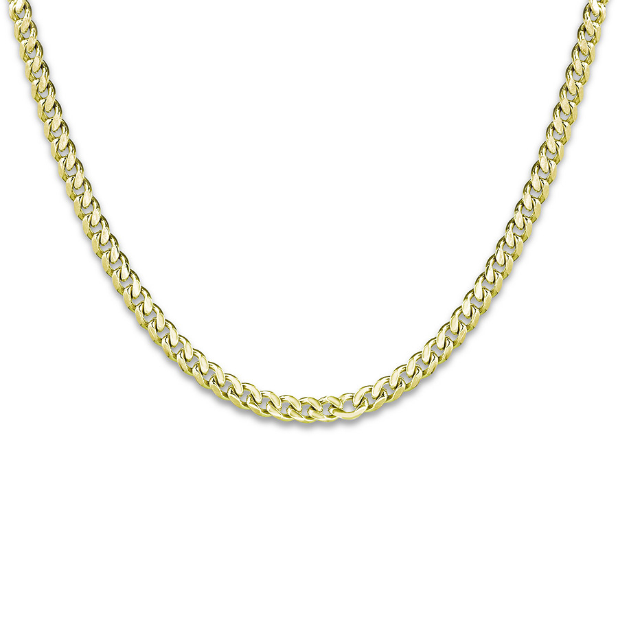 "Men's Cuban Curb Chain Necklace 14k Yellow Gold 24"" Length Regarding Newest Curb Chain Necklaces (View 11 of 25)"