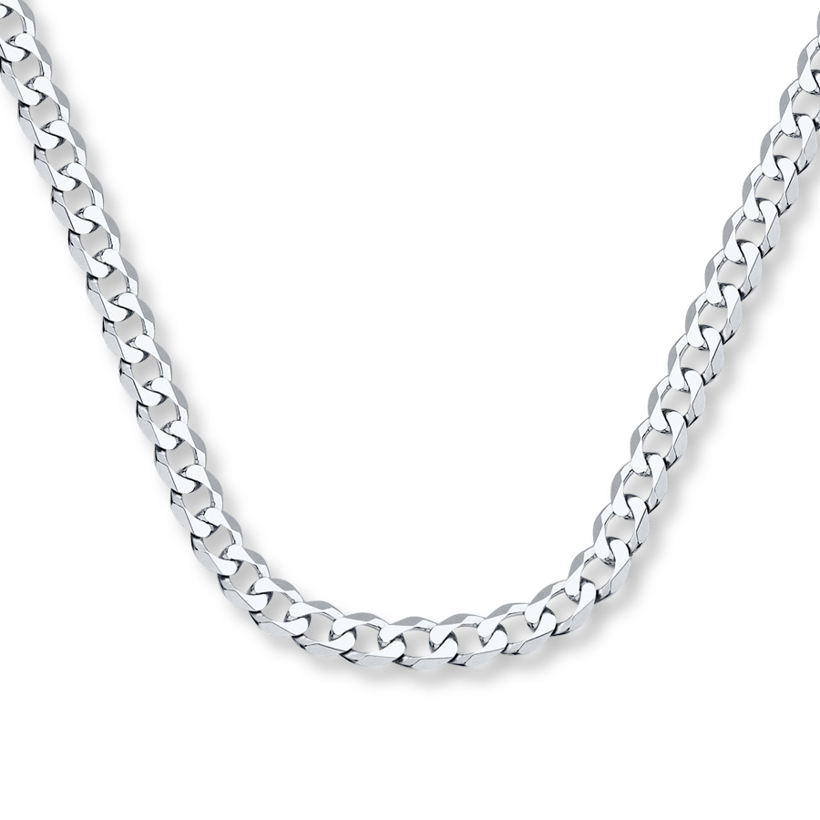 "Men's Curb Chain Necklace 14K White Gold 22"" Length With Most Up To Date Curb Chain Necklaces (View 11 of 25)"