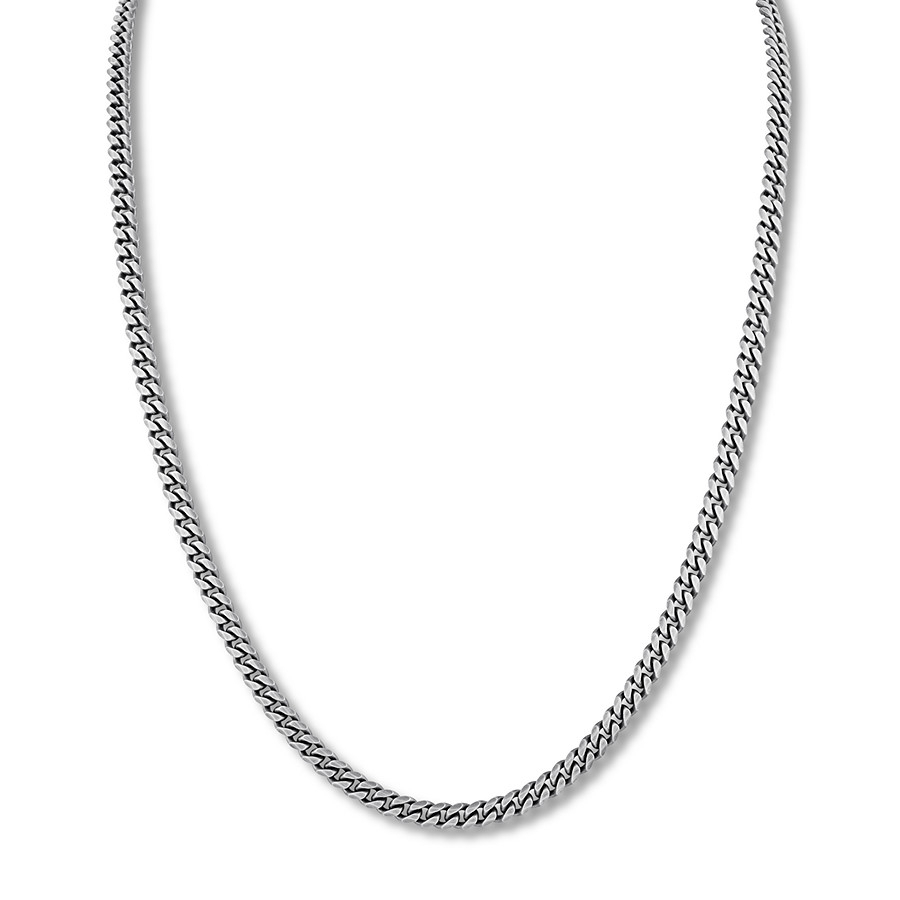"Men's Curb Chain Necklace Oxidized Sterling Silver 24"" Length With Regard To Current Curb Chain Necklaces (View 16 of 25)"