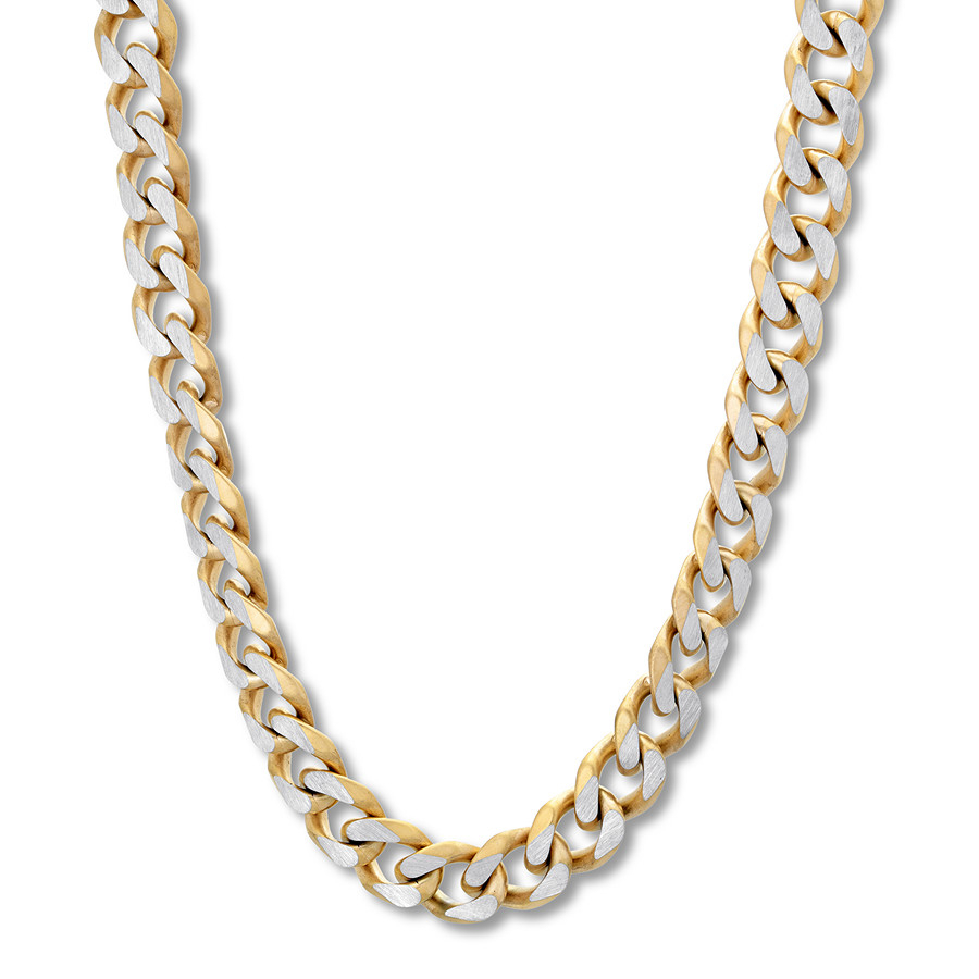 "Men's Curb Chain Necklace Stainless Steel/yellow Ion Plated 30"" Within Most Current Curb Chain Necklaces (View 14 of 25)"