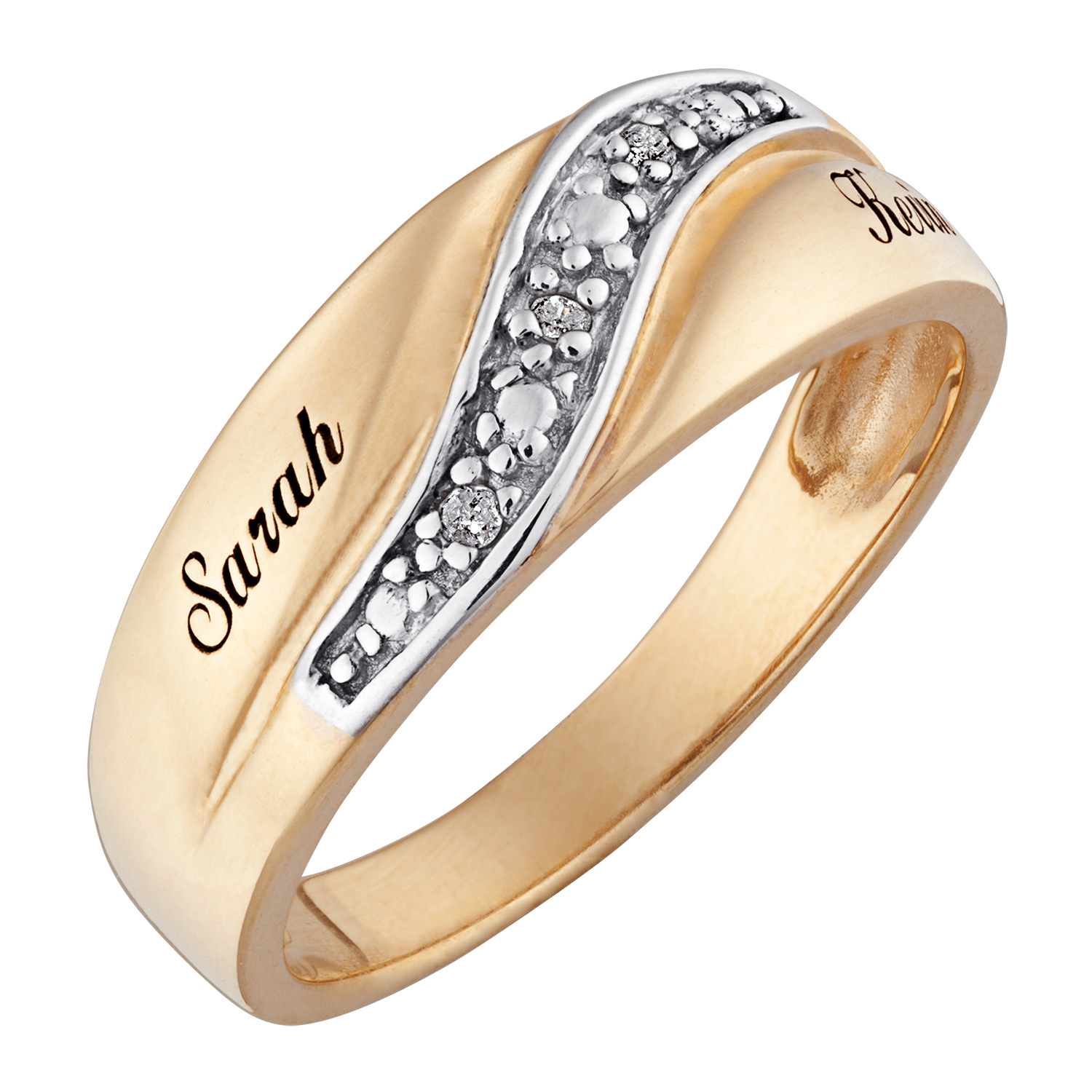Men's Diamond Accent Wedding Band In Sterling Silver With 18K Gold Plate (2 Names)|Zales Pertaining To Newest Diamond Accent Anniversary Bands In Sterling Silver (Gallery 16 of 25)