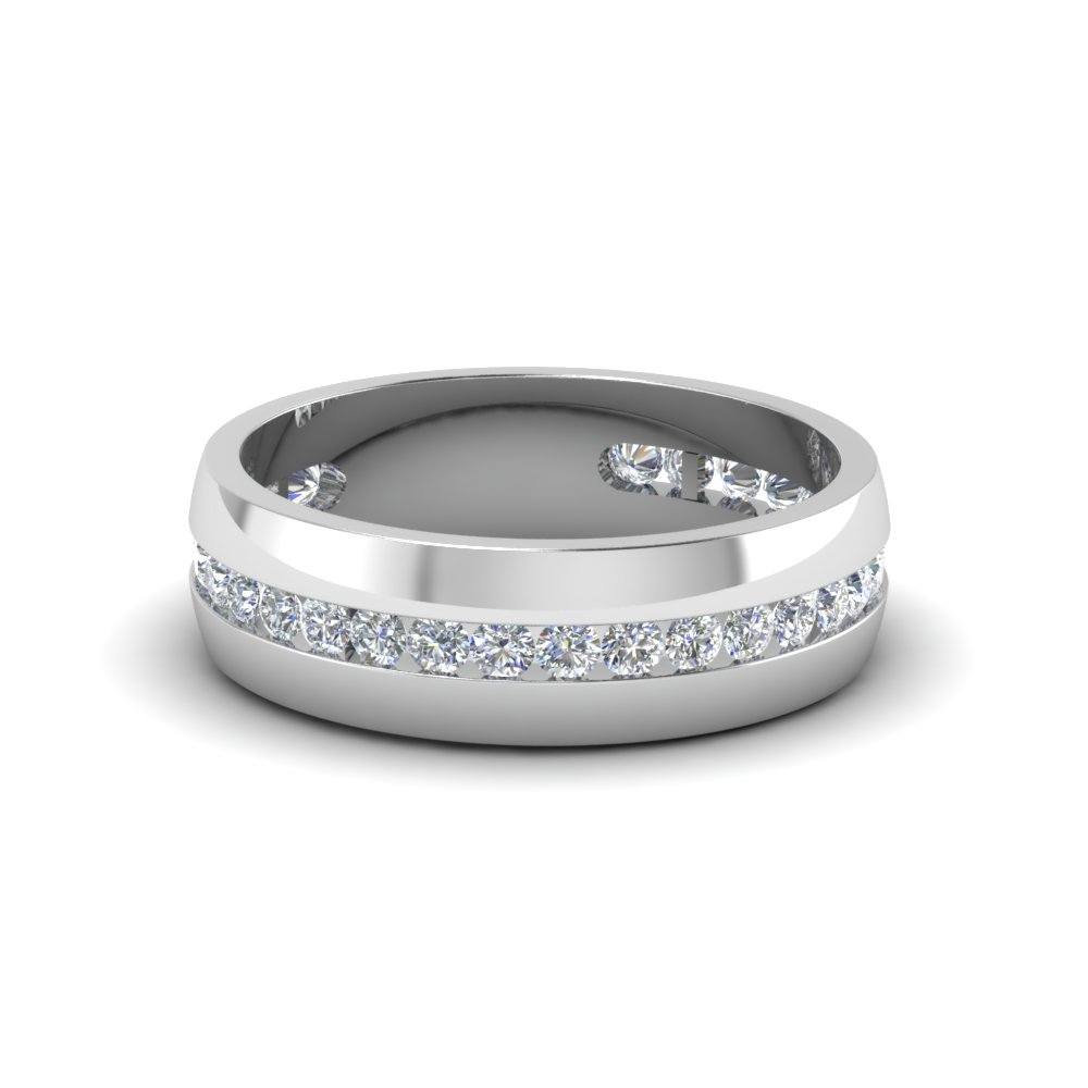 Mens Diamond Channel Set Band Intended For Most Up To Date Diamond Five Row Anniversary Rings In White Gold (Gallery 25 of 25)