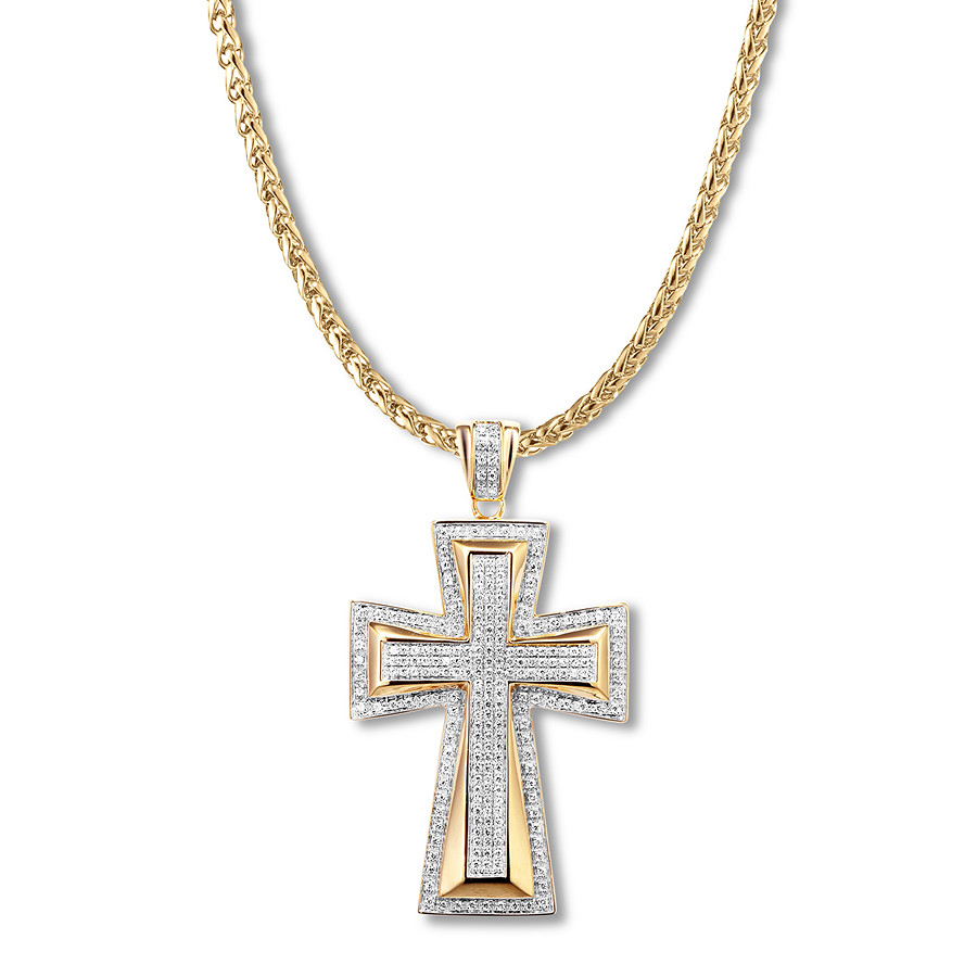 Men's Diamond Cross Necklace 3/4 Ct Tw 10k Yellow Gold 24 Regarding Most Current Sparkling Cross Pendant Necklaces (View 16 of 25)