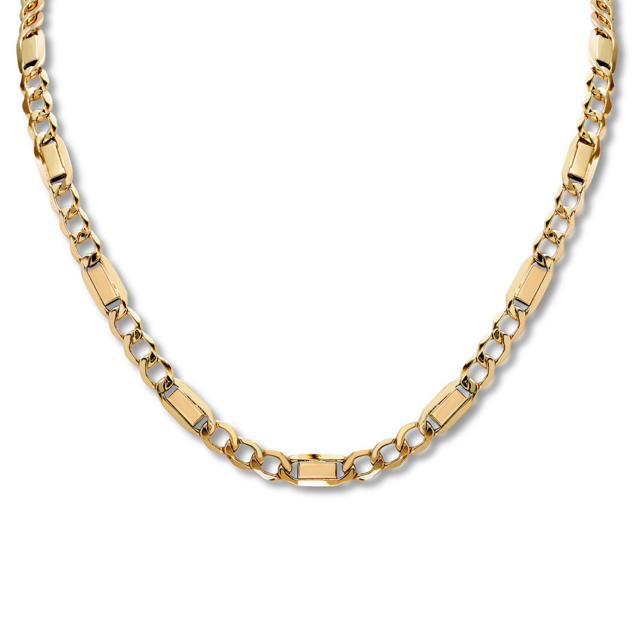 "Men's Figaro Chain Necklace 10K Yellow Gold 22"" Pertaining To Current Classic Figaro Chain Necklaces (Gallery 17 of 25)"