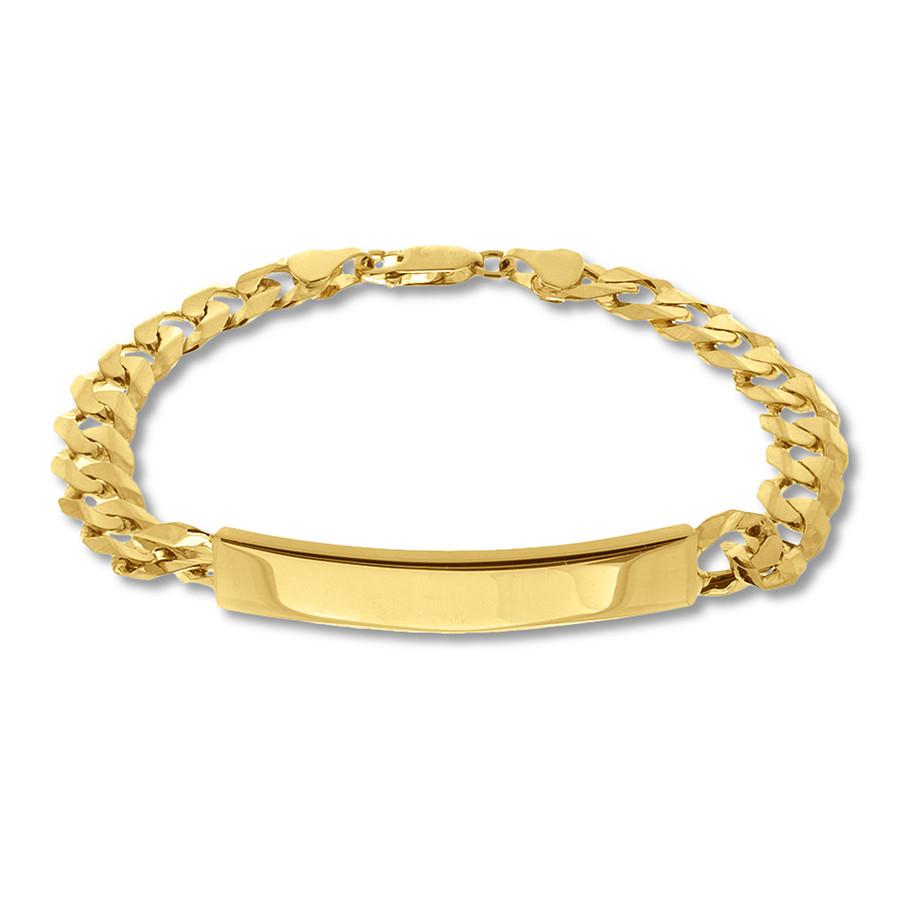 Men's Id Link Bracelet 14K Yellow Gold  (View 19 of 25)
