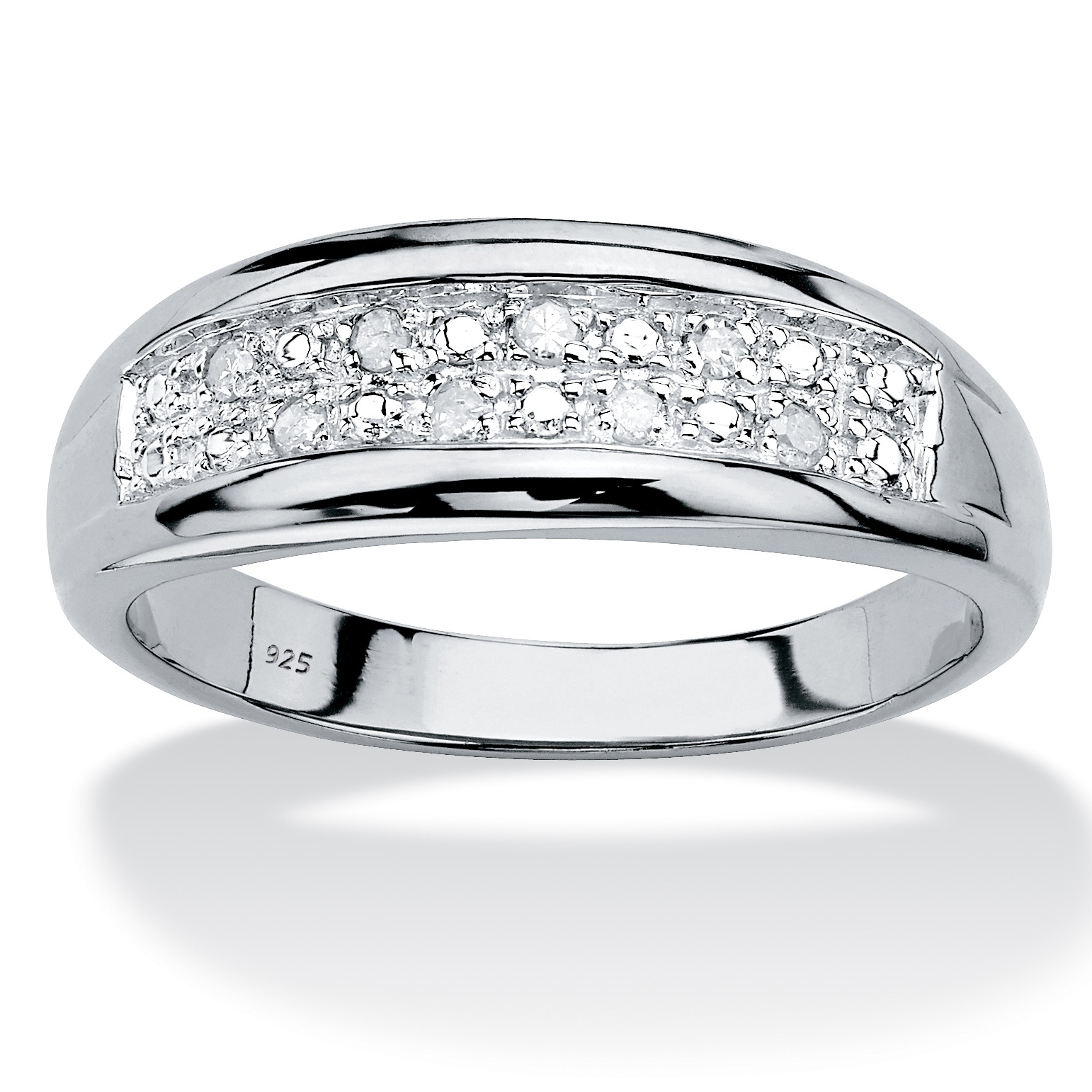 Men's Round Genuine Diamond Double Row Ring 1/8 Tcw In Inside Most Current Diamond Two Row Anniversary Bands In Sterling Silver (Gallery 20 of 25)