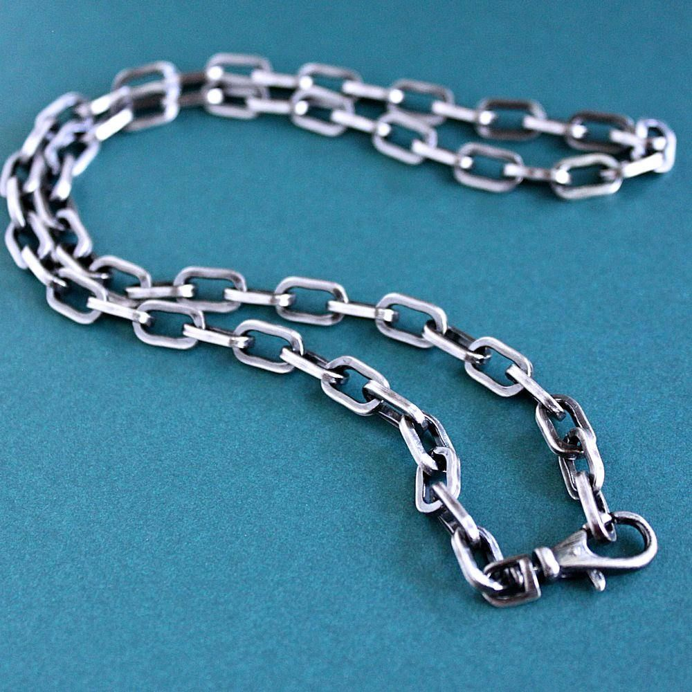 Mens Rustic Silver Chain Necklace, Mens Large Link Cable Chain Intended For Most Current Long Link Cable Chain Necklaces (View 13 of 25)