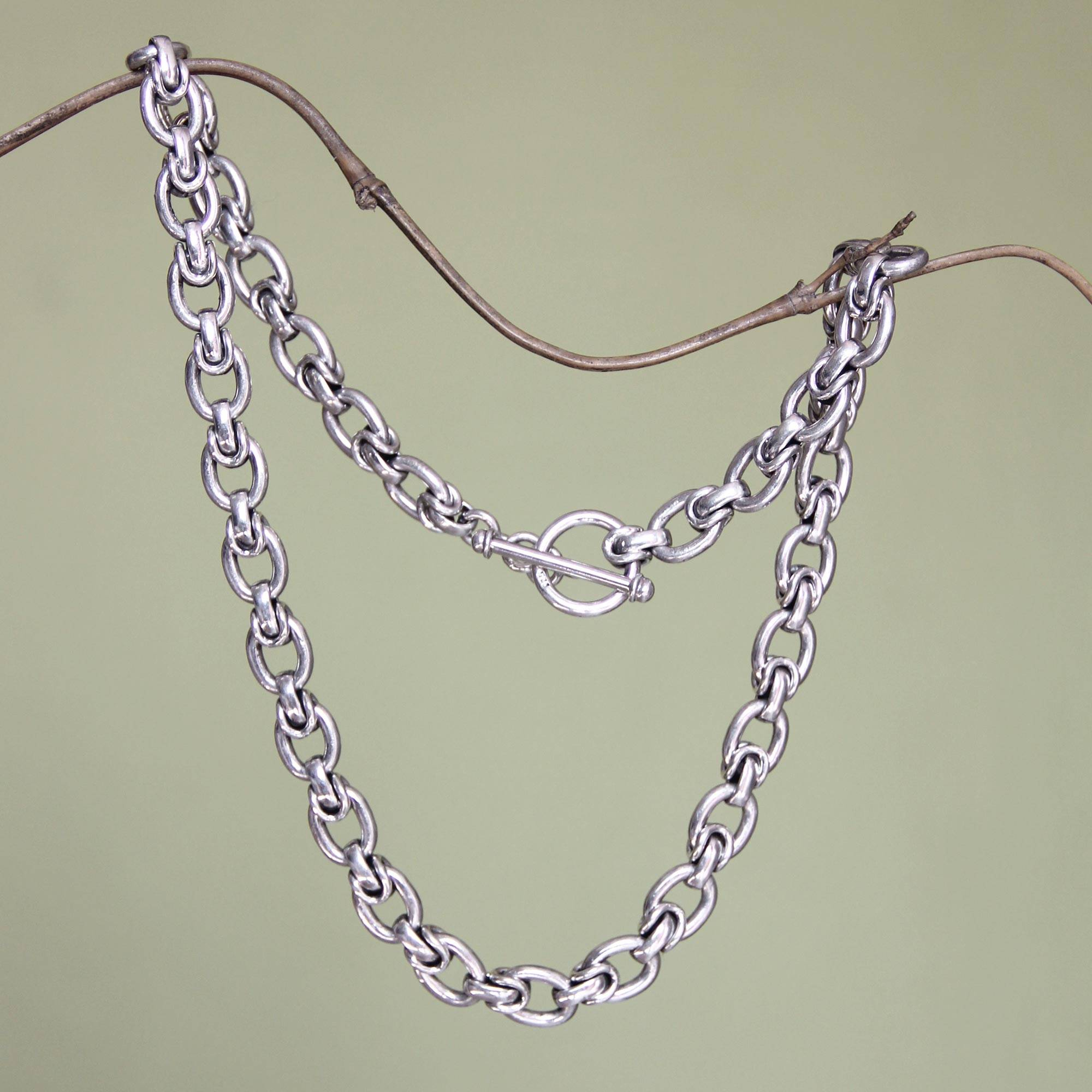 Men's Sterling Silver Chain Necklace, 'brave Knight' With Regard To Most Popular Silver Chain Necklaces (View 15 of 25)