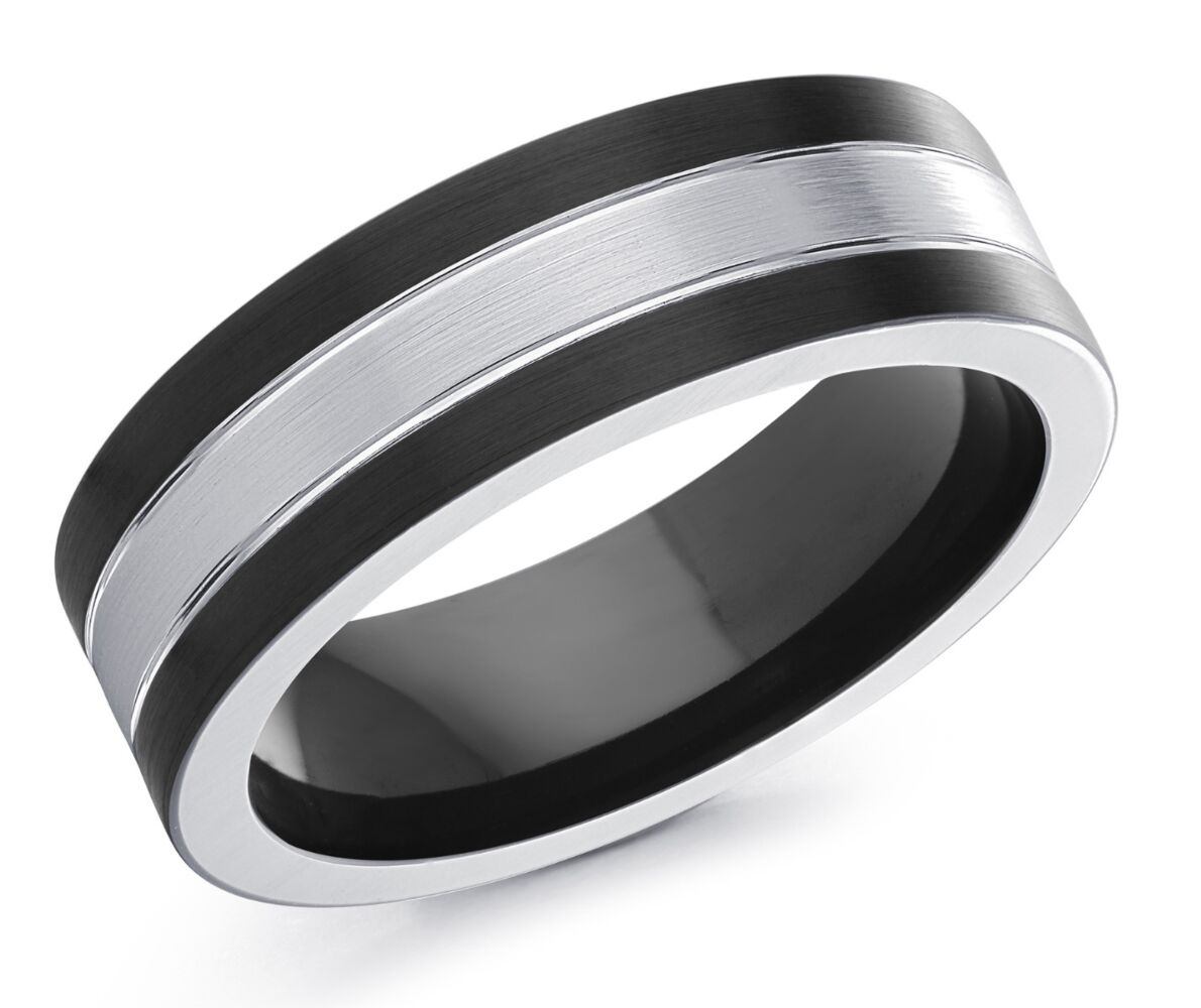 Men's Striped Men's Cobalt Wedding Ring Pertaining To Most Recent White Stripes Rings (Gallery 15 of 15)