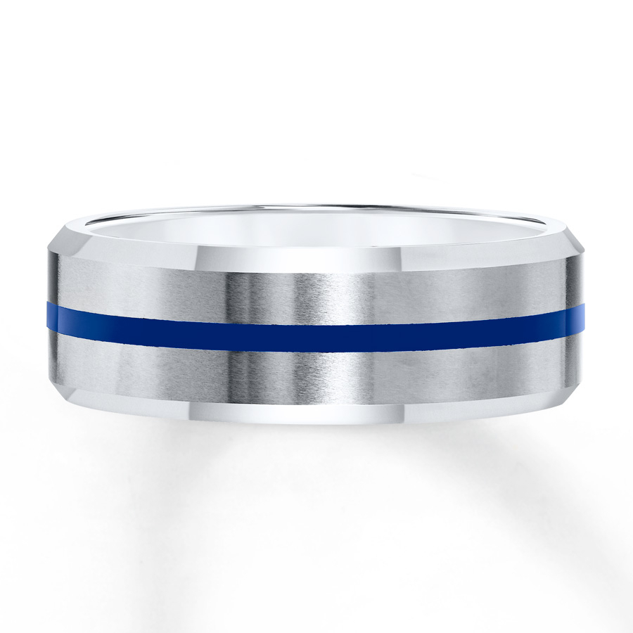 Men's Tungsten Band Blue Stripe 8Mm Regarding Newest Blue Stripes Rings (Gallery 6 of 25)