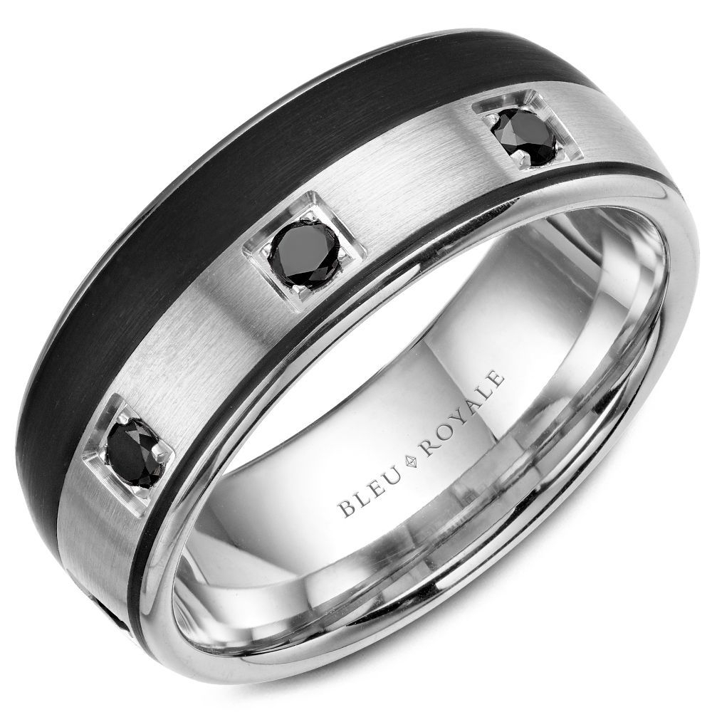 Mens Wedding Band 14k White Gold With Black Carbon Accent 8.5mm With (View 17 of 25)