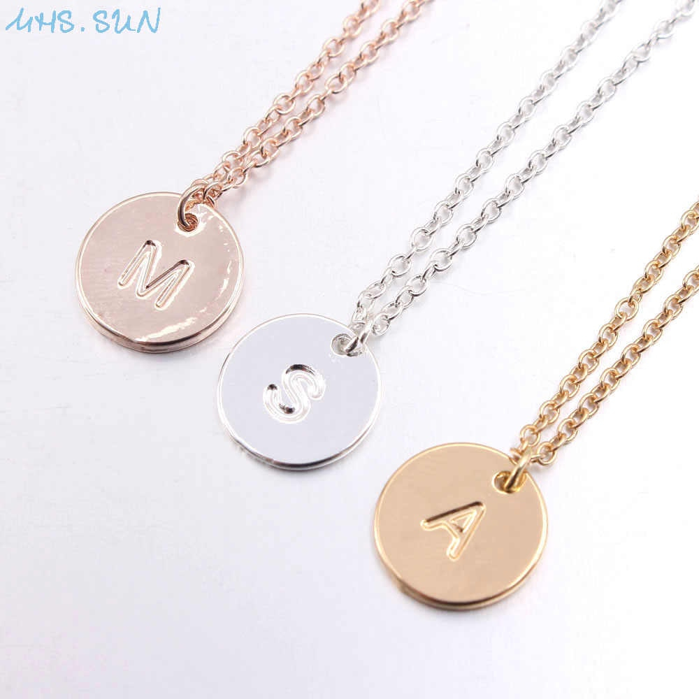 Mhs.sun New Arrival Simple 26 Letter Necklace With Round Alphabet Pendant Women Gold Silver Chain Necklace Girls Best Gift 1Pc Within Most Up To Date Letter X Alphabet Locket Element Necklaces (Gallery 17 of 25)