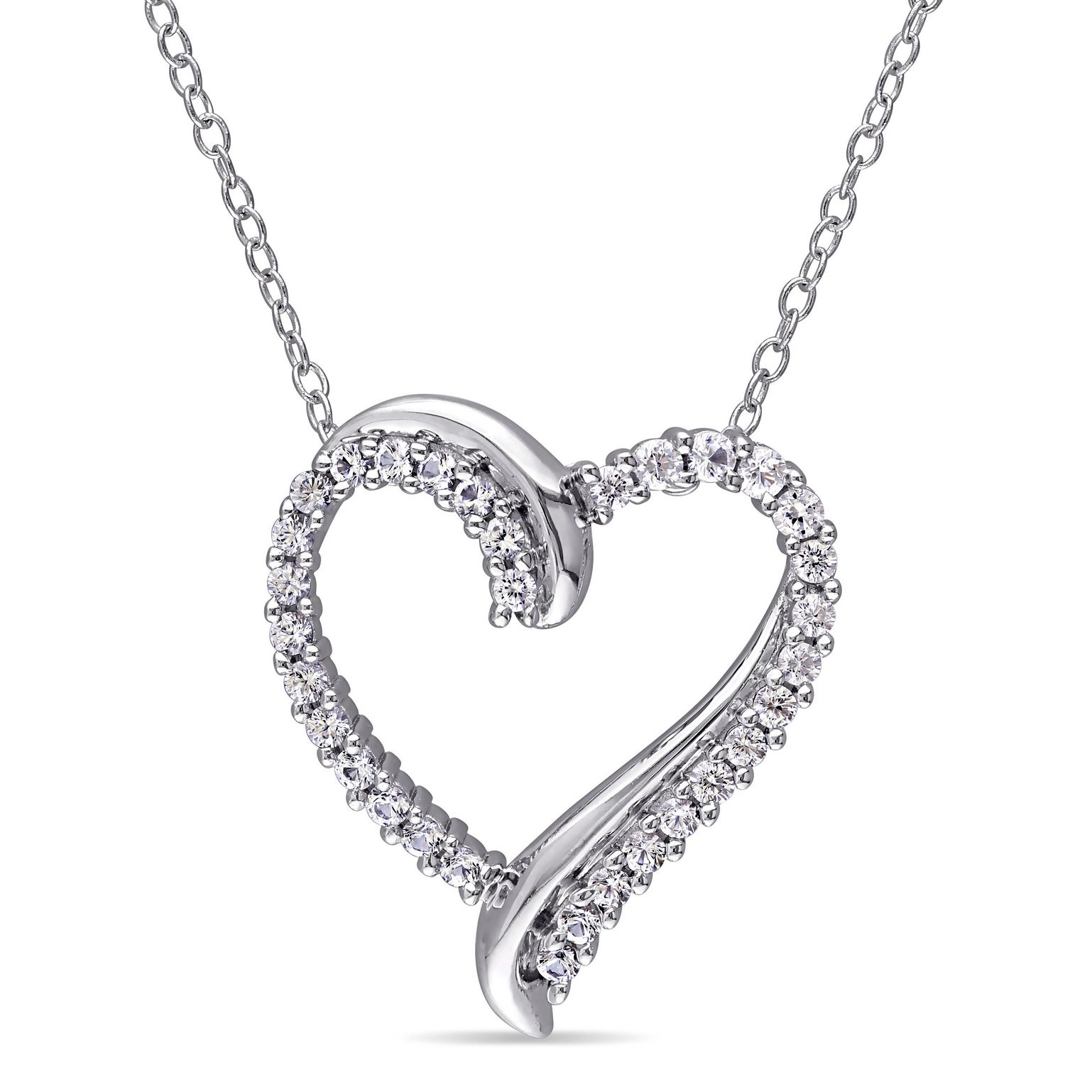 Miabella 0.75 Carat T.g.w. Created White Sapphire Sterling Silver 18 Throughout Most Recently Released Asymmetrical Heart Necklaces (Gallery 18 of 25)