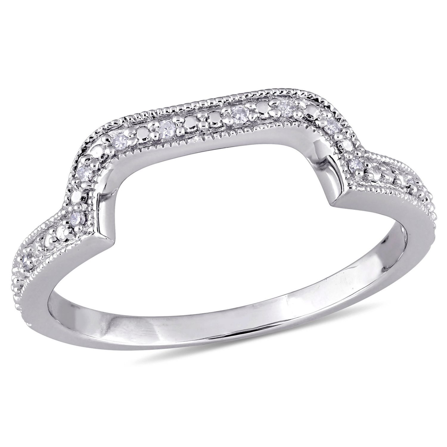 Miabella Diamond Accent Sterling Silver Curved Anniversary For Best And Newest Diamond Accent Anniversary Bands In Sterling Silver (Gallery 14 of 25)