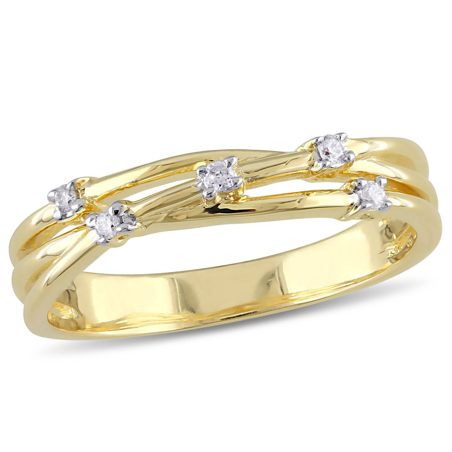 Miabella Diamond Accent Yellow Rhodium Plated Sterling Silver Crossover Anniversary Ring Pertaining To Best And Newest Diamond Accent Anniversary Bands In Sterling Silver (Gallery 19 of 25)