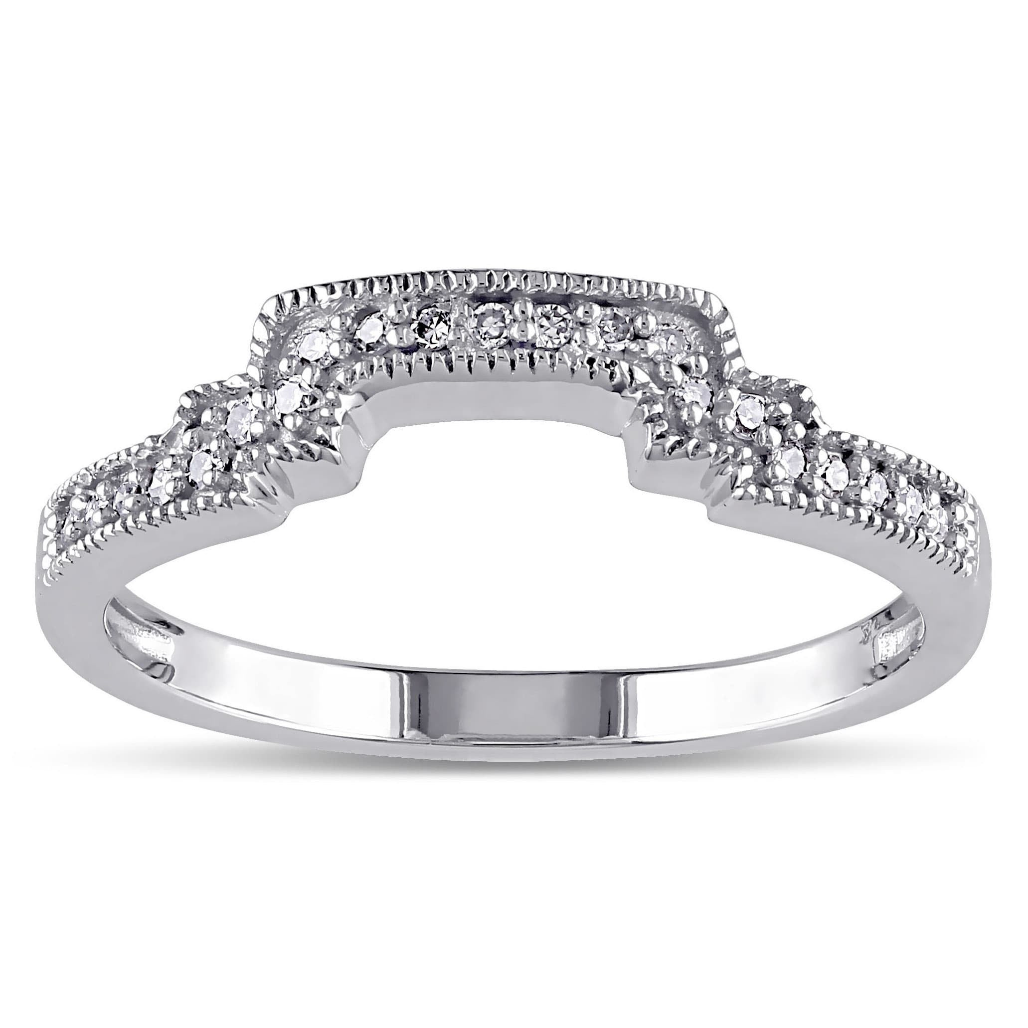 Miadora 10K White Gold 1/10Ct Tdw Diamond Contour Stackable Wedding Band Ring Inside 2020 Certified Princess Cut Diamond Contour Anniversary Bands In White Gold (Gallery 9 of 25)