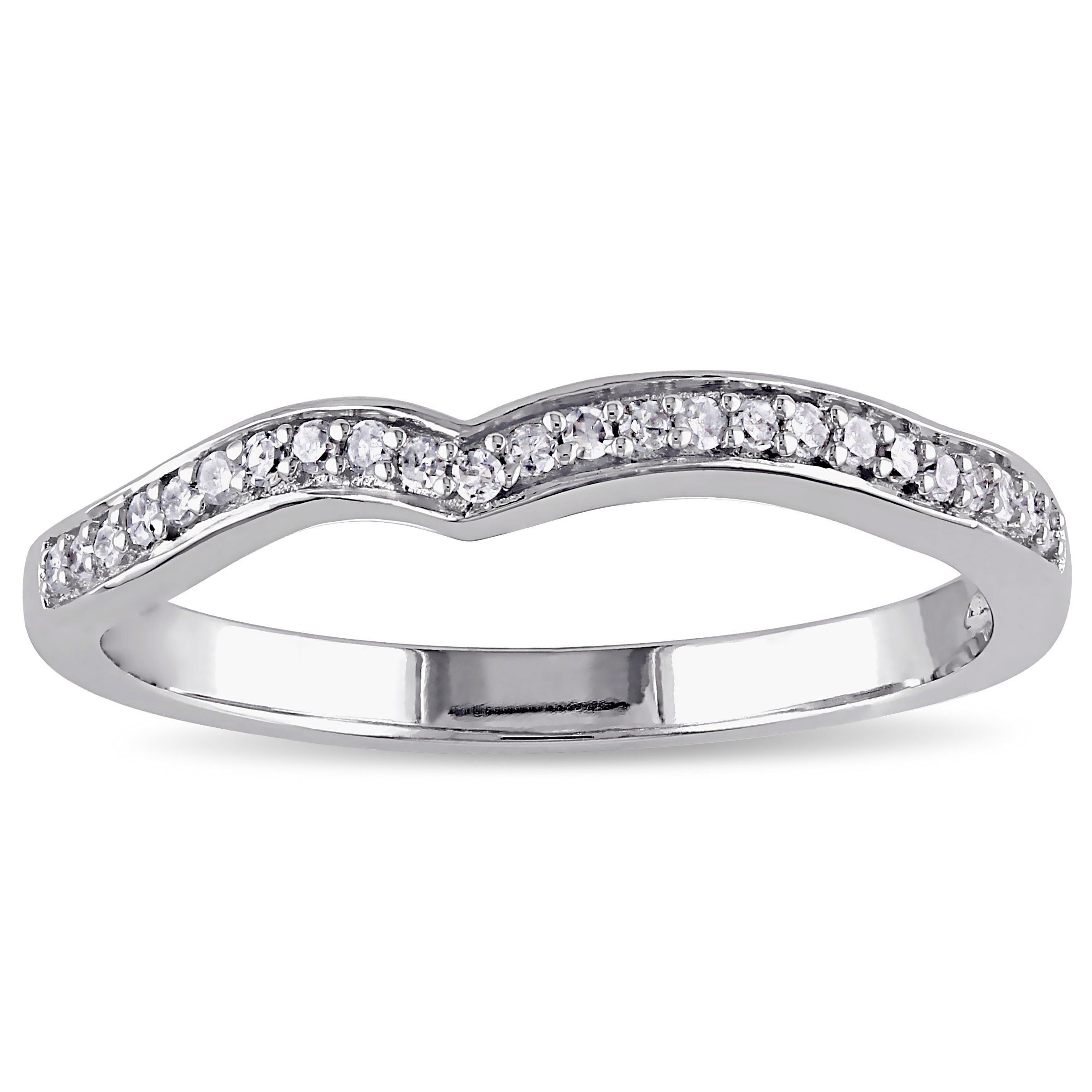Miadora 10k White Gold 1/6ct Tdw Diamond Contour Anniversary Inside 2019 Diamond Contour Anniversary Bands In White Gold (View 12 of 25)