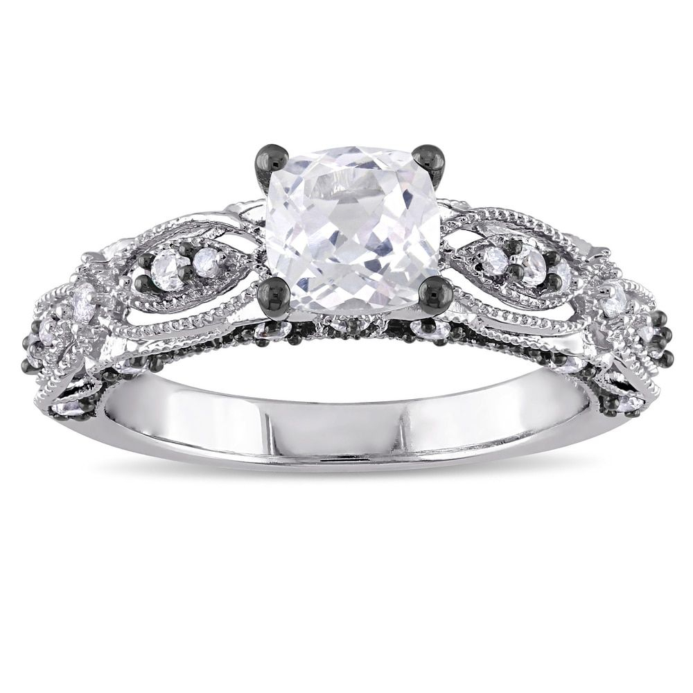 Miadora 10K White Gold Cushion Cut Created White Sapphire Pertaining To Most Recent Diamond Accent Vintage Style Anniversary Bands In White Gold (Gallery 16 of 25)