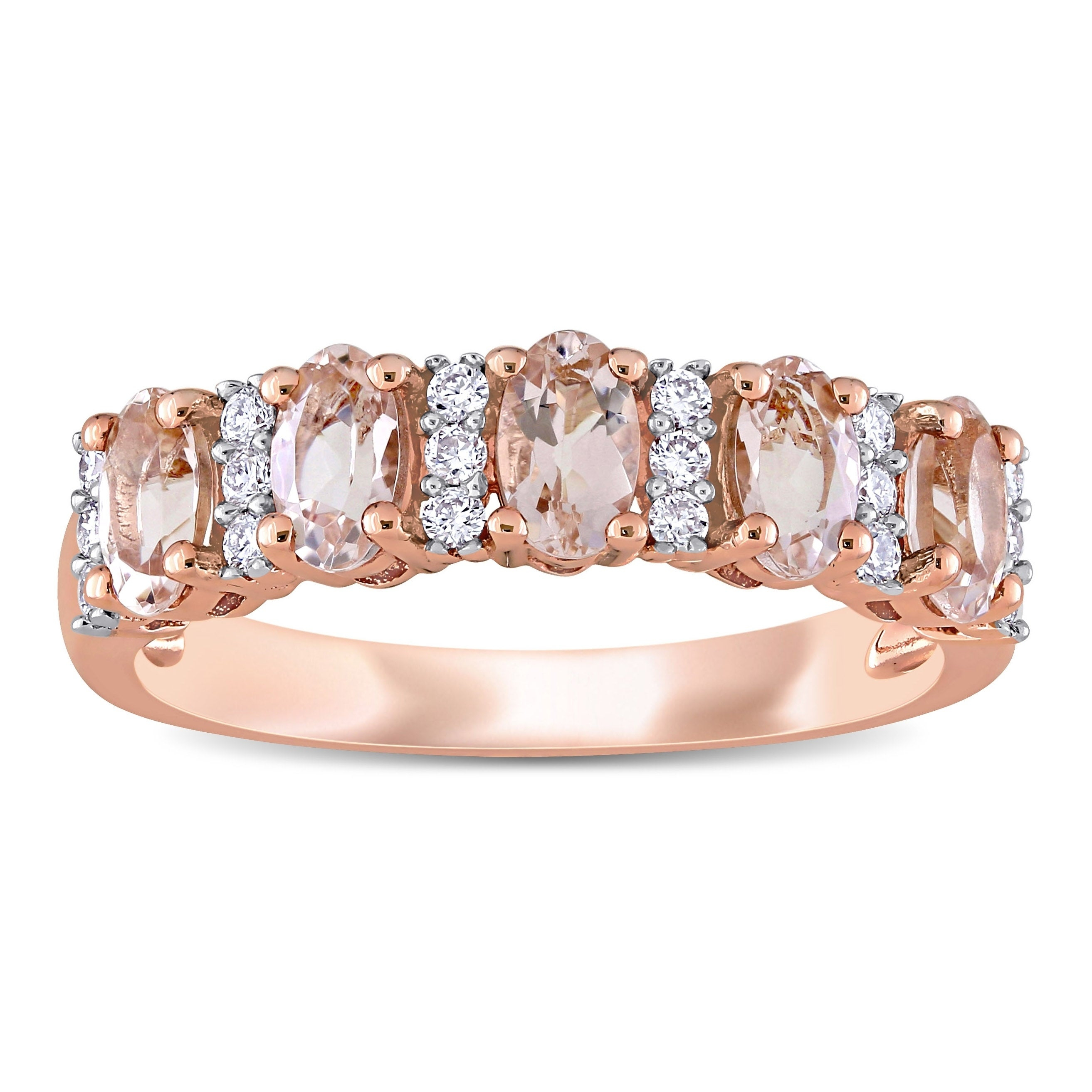 Miadora 14K Rose Gold Oval Cut Morganite And 1/6Ct Tdw Diamond Anniversary  Band Ring Within Best And Newest Diamond Anniversary Bands In Rose Gold (Gallery 14 of 25)